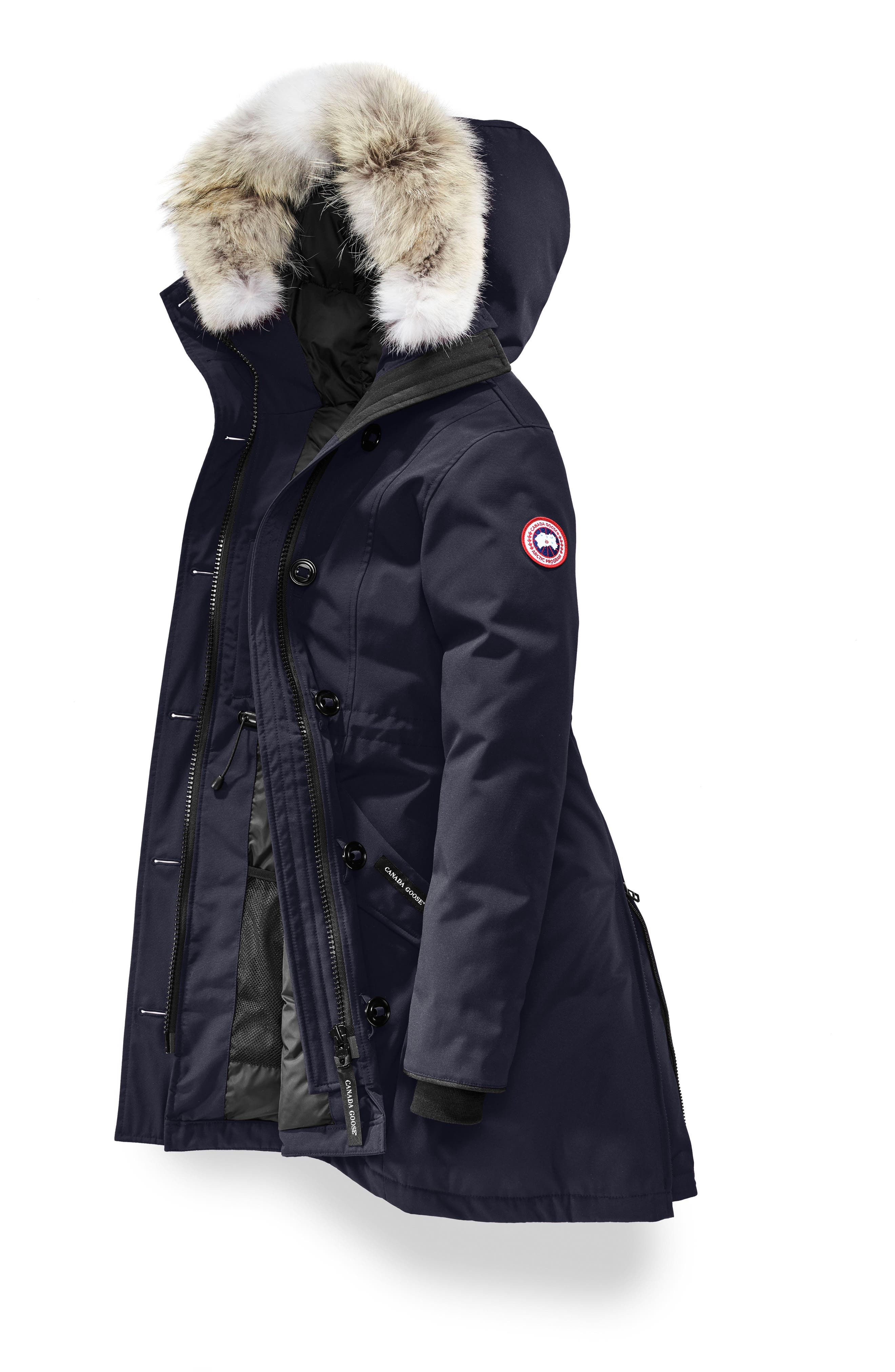 Rossclair Fusion Fit Genuine Coyote Fur Trim Down Parka,                             Alternate thumbnail 4, color,                             ADMIRAL BLUE