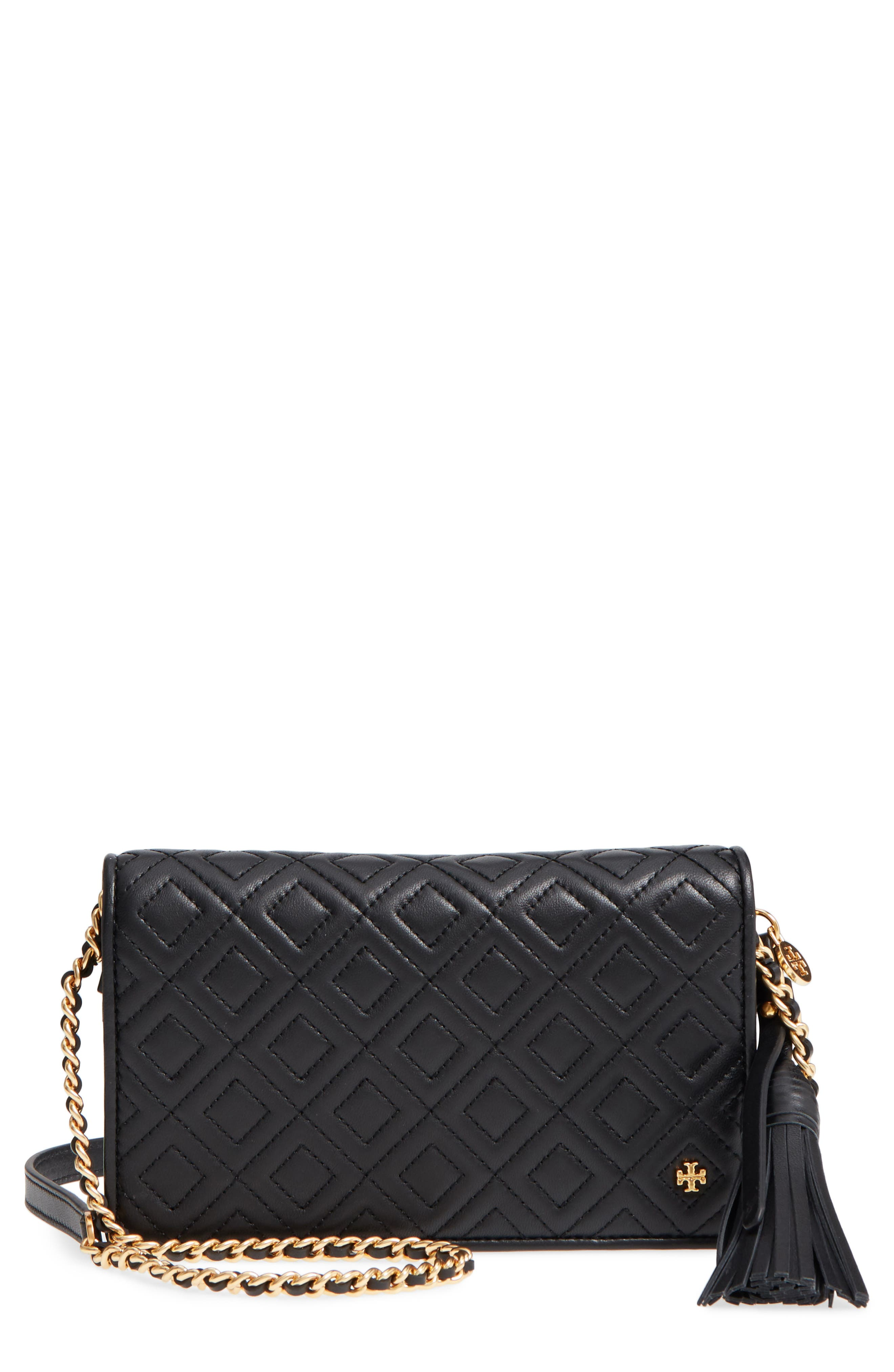 TORY BURCH,                             Fleming Leather Wallet/Crossbody,                             Main thumbnail 1, color,                             001