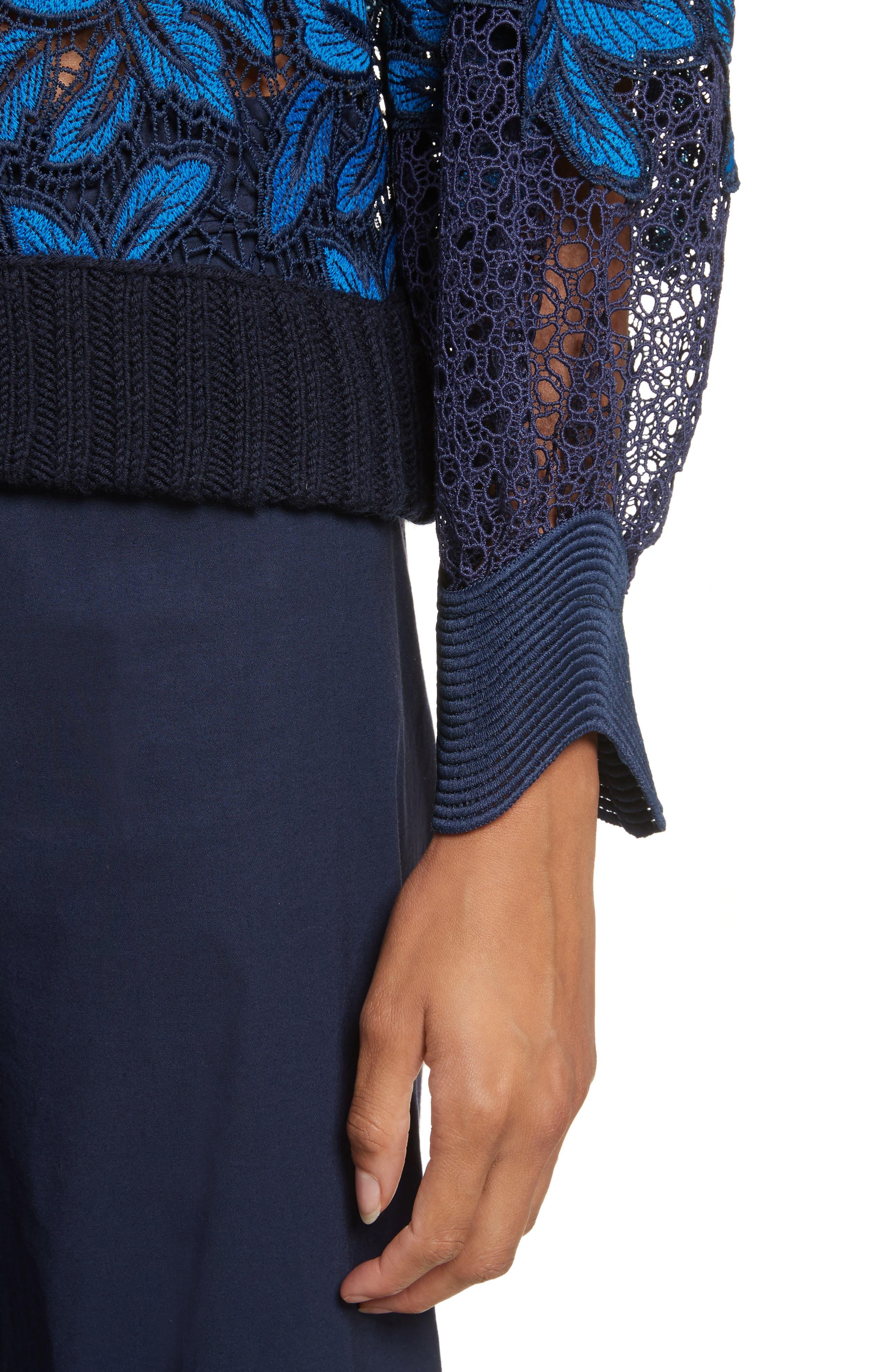 Mosaic Lace Bell Sleeve Sweatshirt,                             Alternate thumbnail 4, color,                             402