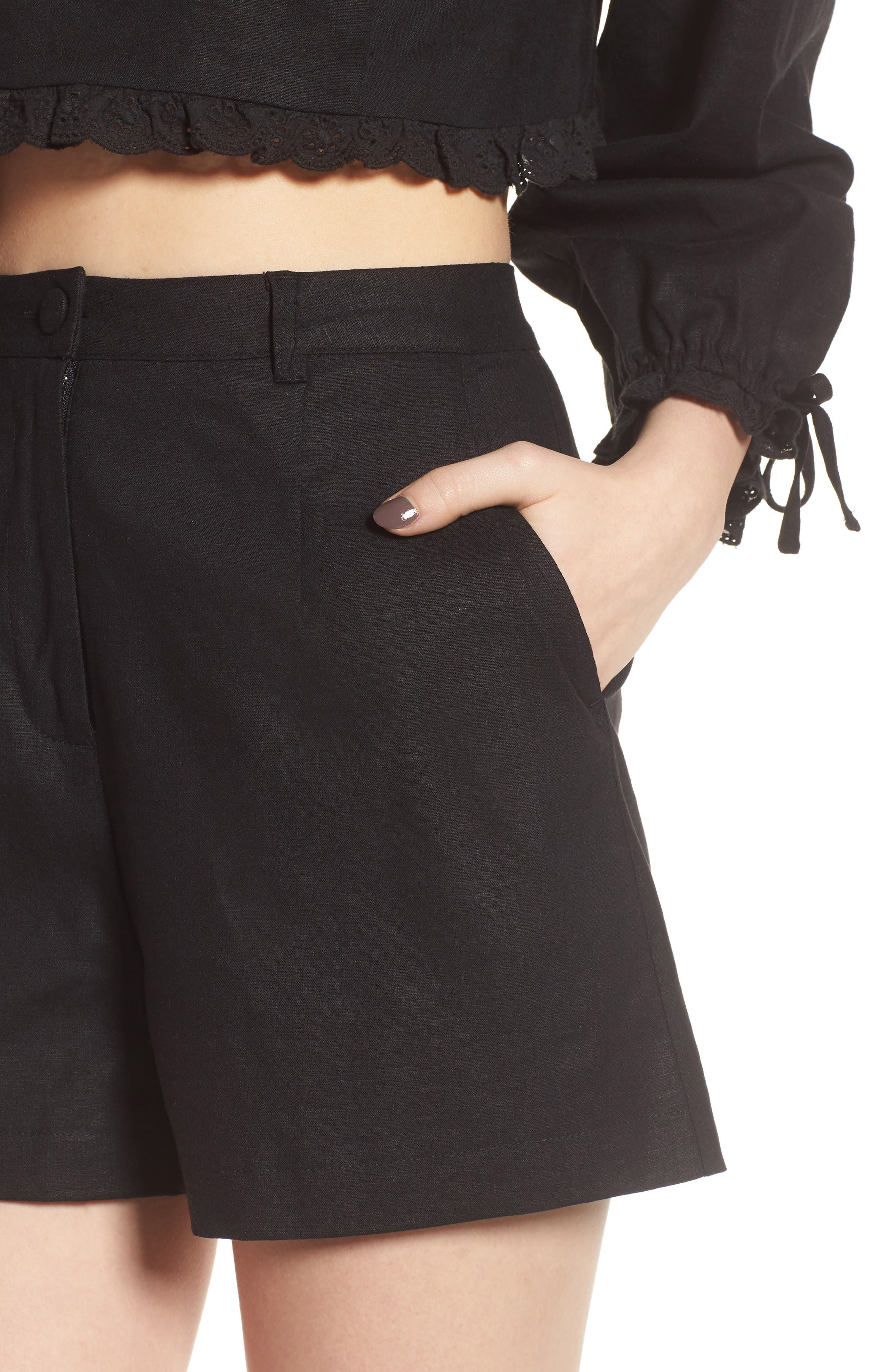 LOVERS + FRIENDS,                             Tracy High Waist Shorts,                             Alternate thumbnail 4, color,                             001