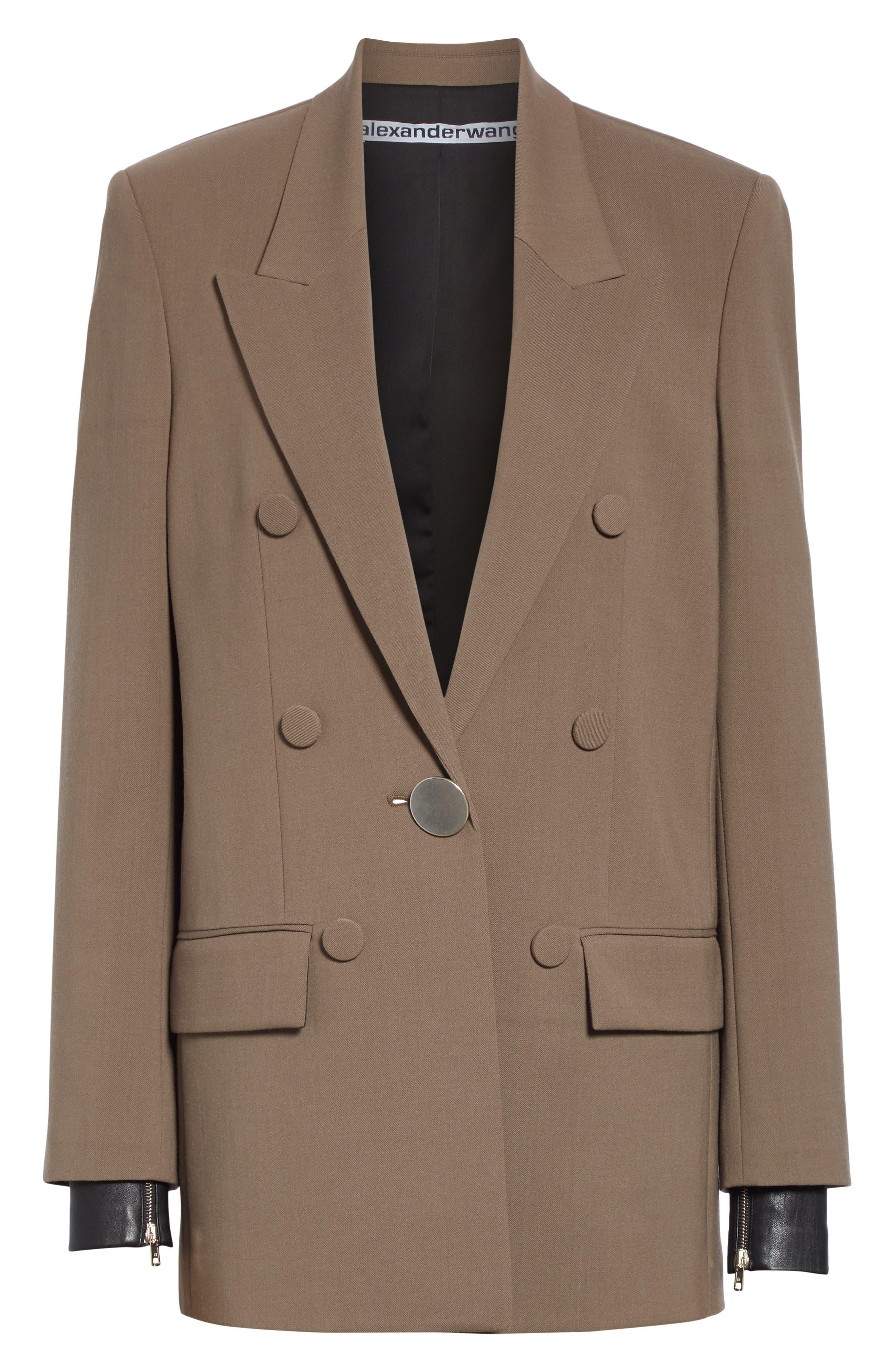 ALEXANDER WANG,                             Leather Cuff Blazer,                             Alternate thumbnail 6, color,                             KHAKI GREEN