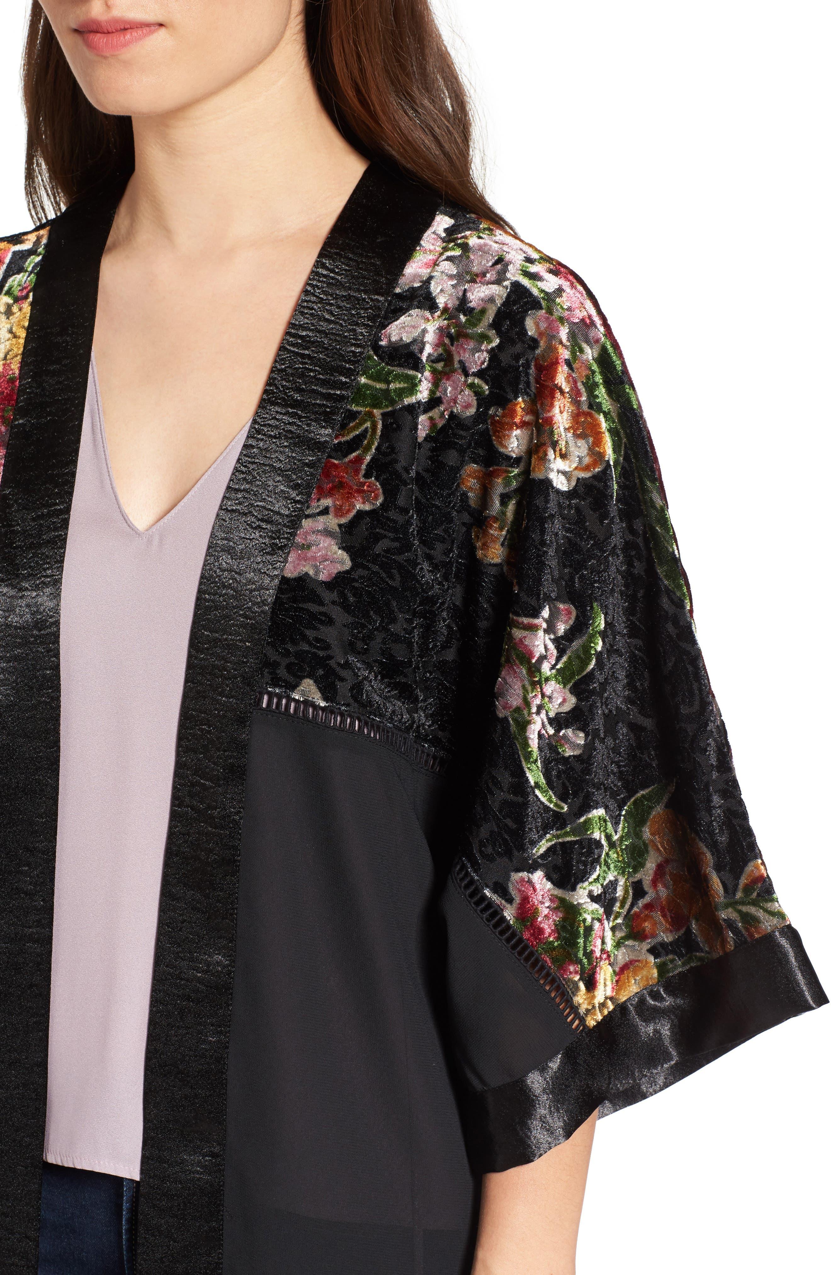 Burnout Floral Kimono,                             Alternate thumbnail 4, color,                             001