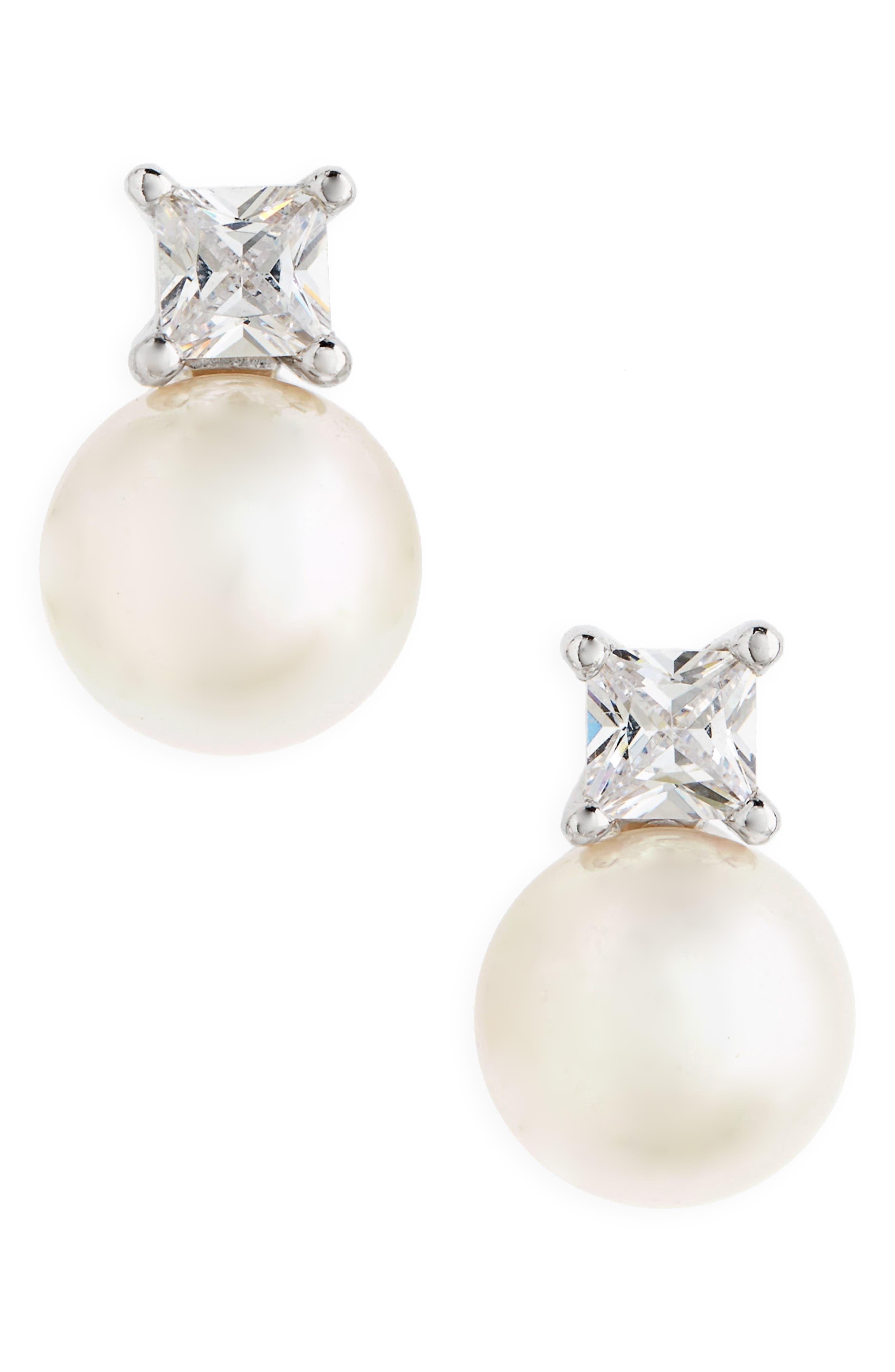 Pearl & Crystal Earrings,                         Main,                         color, WHITE