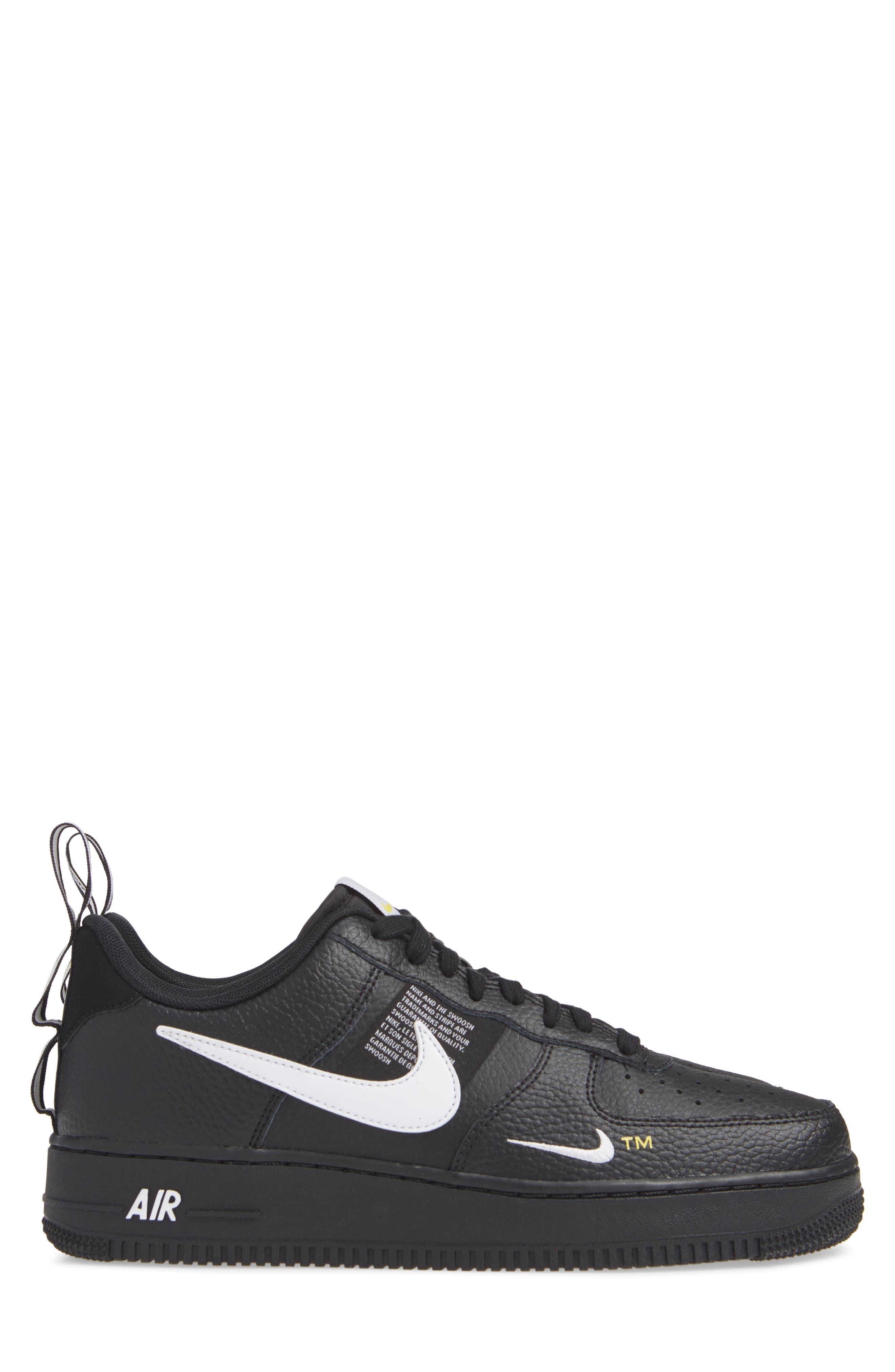 Air Force 1 '07 LV8 Utility Sneaker,                             Alternate thumbnail 4, color,                             BLACK/ WHITE/ TOUR YELLOW