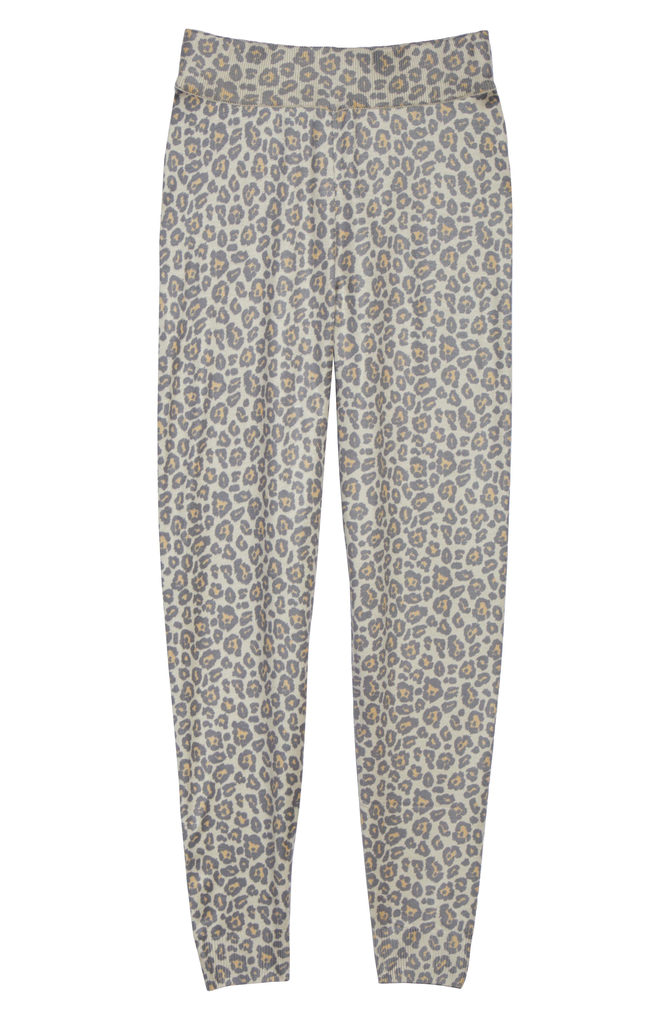 Leopard Knit Lounge Pant,                             Alternate thumbnail 6, color,                             BEIGE LEOPARD