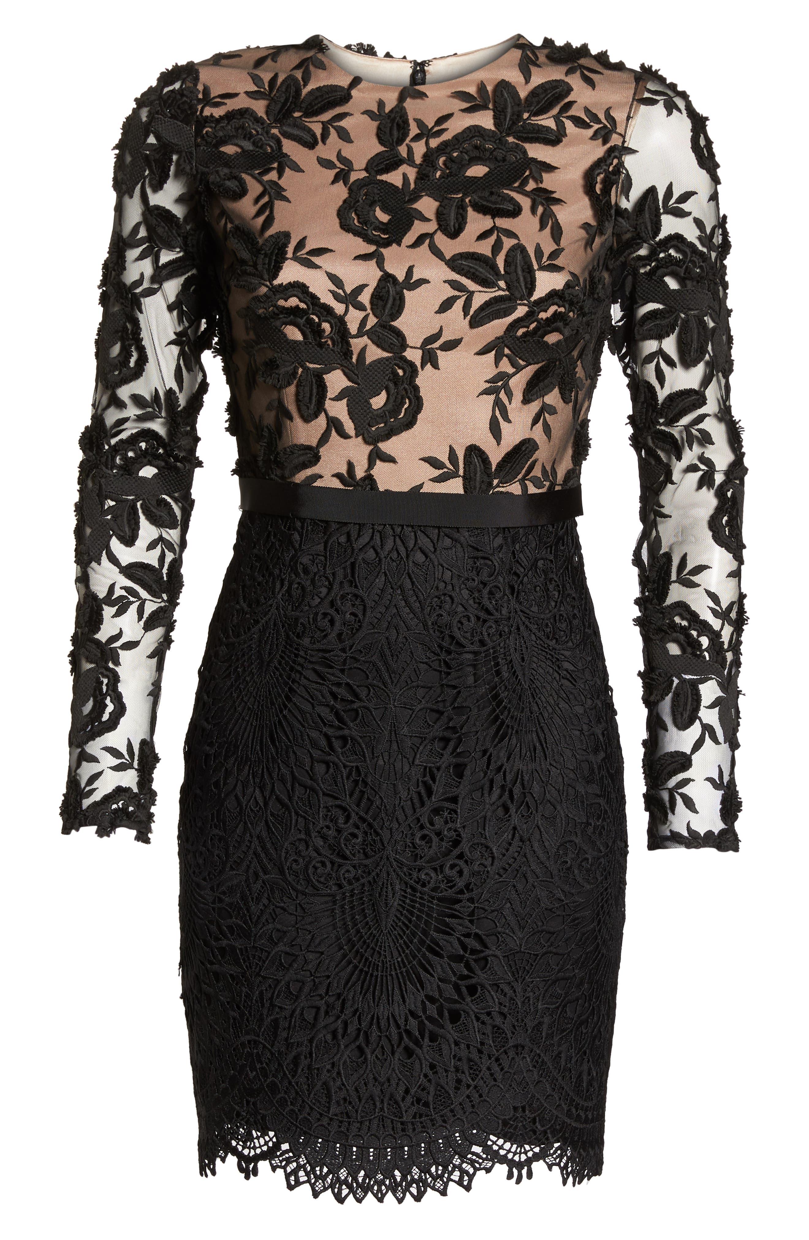 Calypso Lace Sheath Dress,                             Alternate thumbnail 7, color,                             BLACK/ NUDE