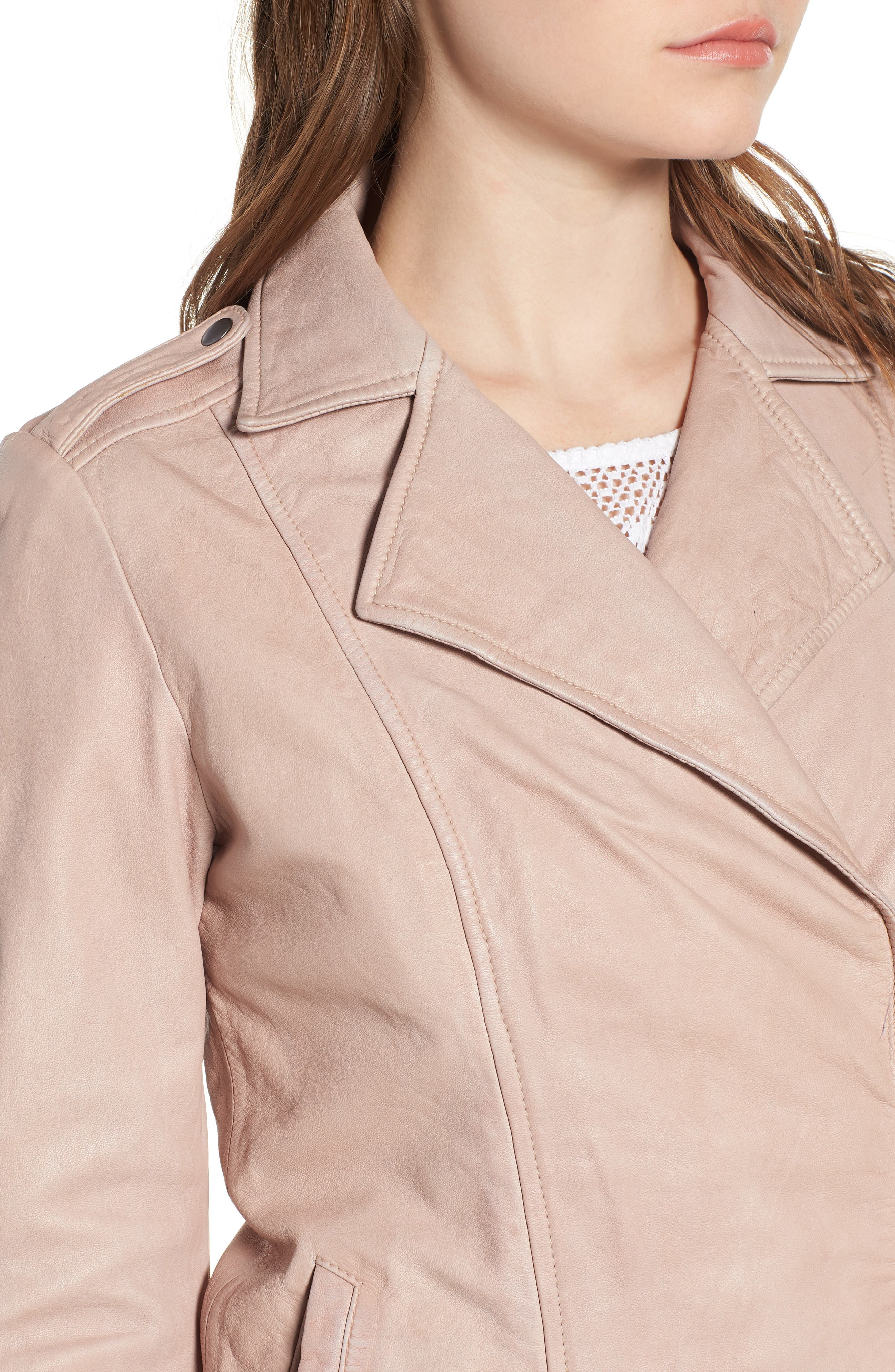 Feminine Leather Moto Jacket,                             Alternate thumbnail 4, color,                             270