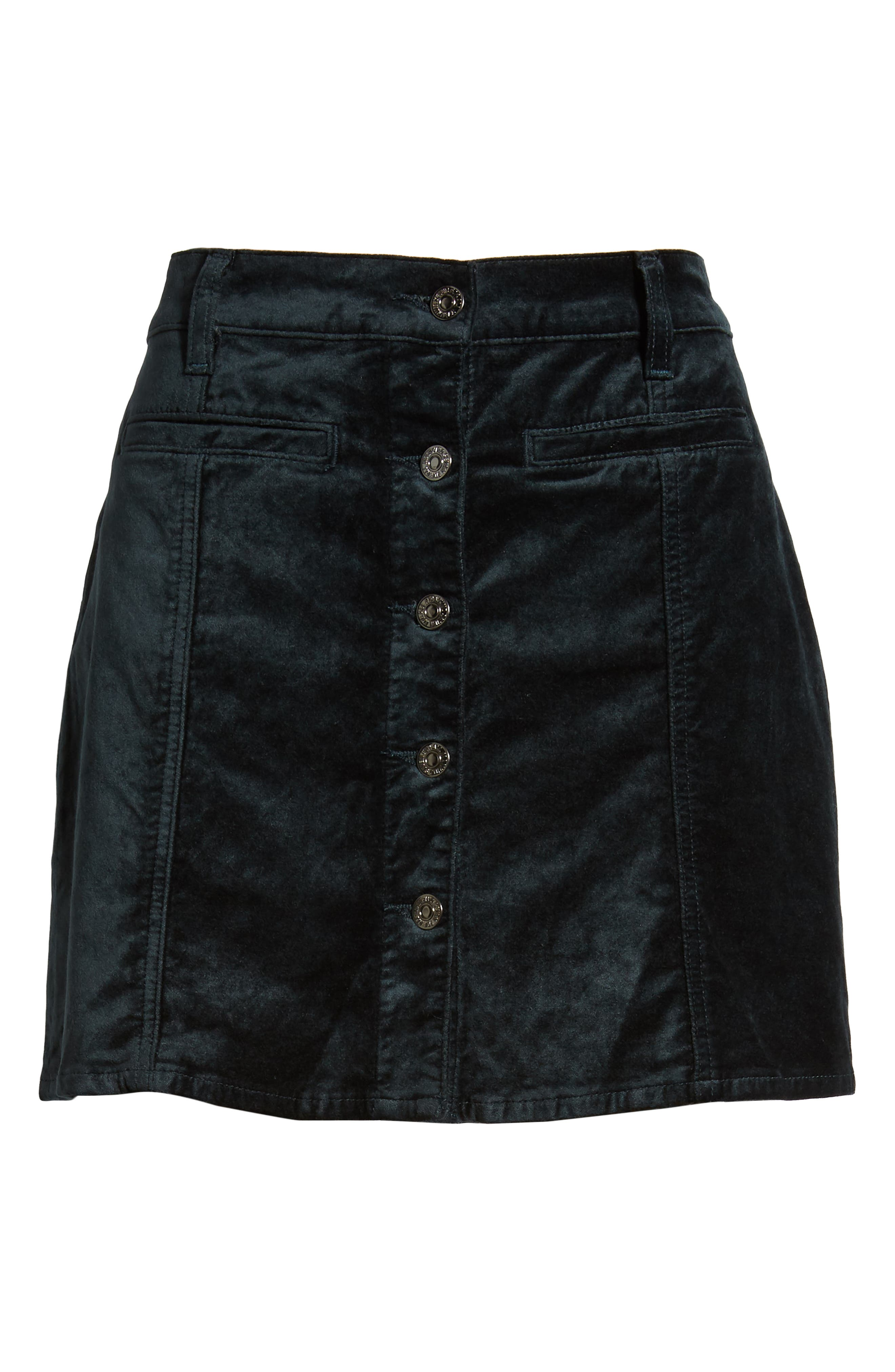 Button Front Velvet Miniskirt,                             Alternate thumbnail 6, color,                             301