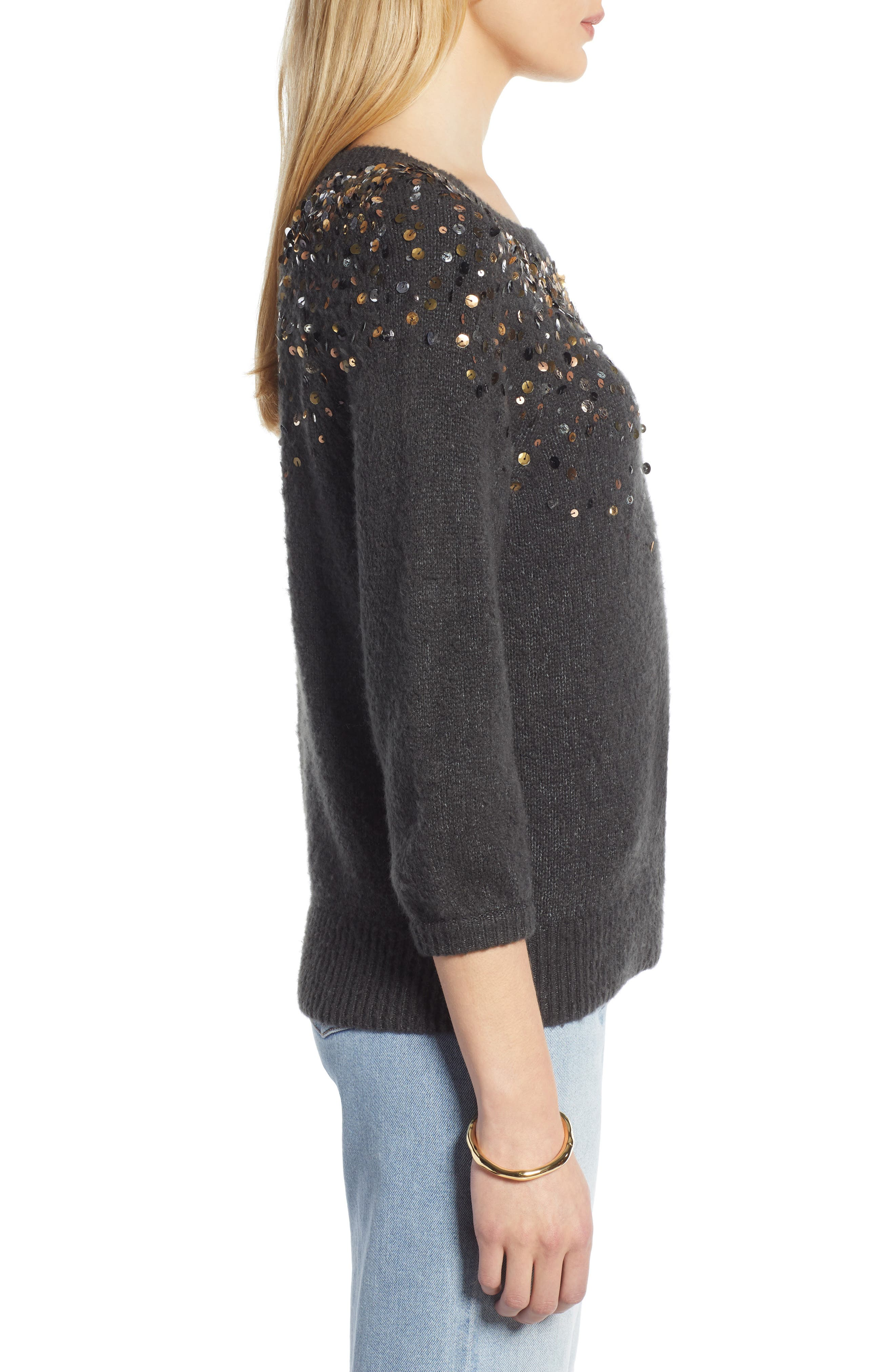 Sequin Detail Sweater,                             Alternate thumbnail 3, color,                             CHARCOAL