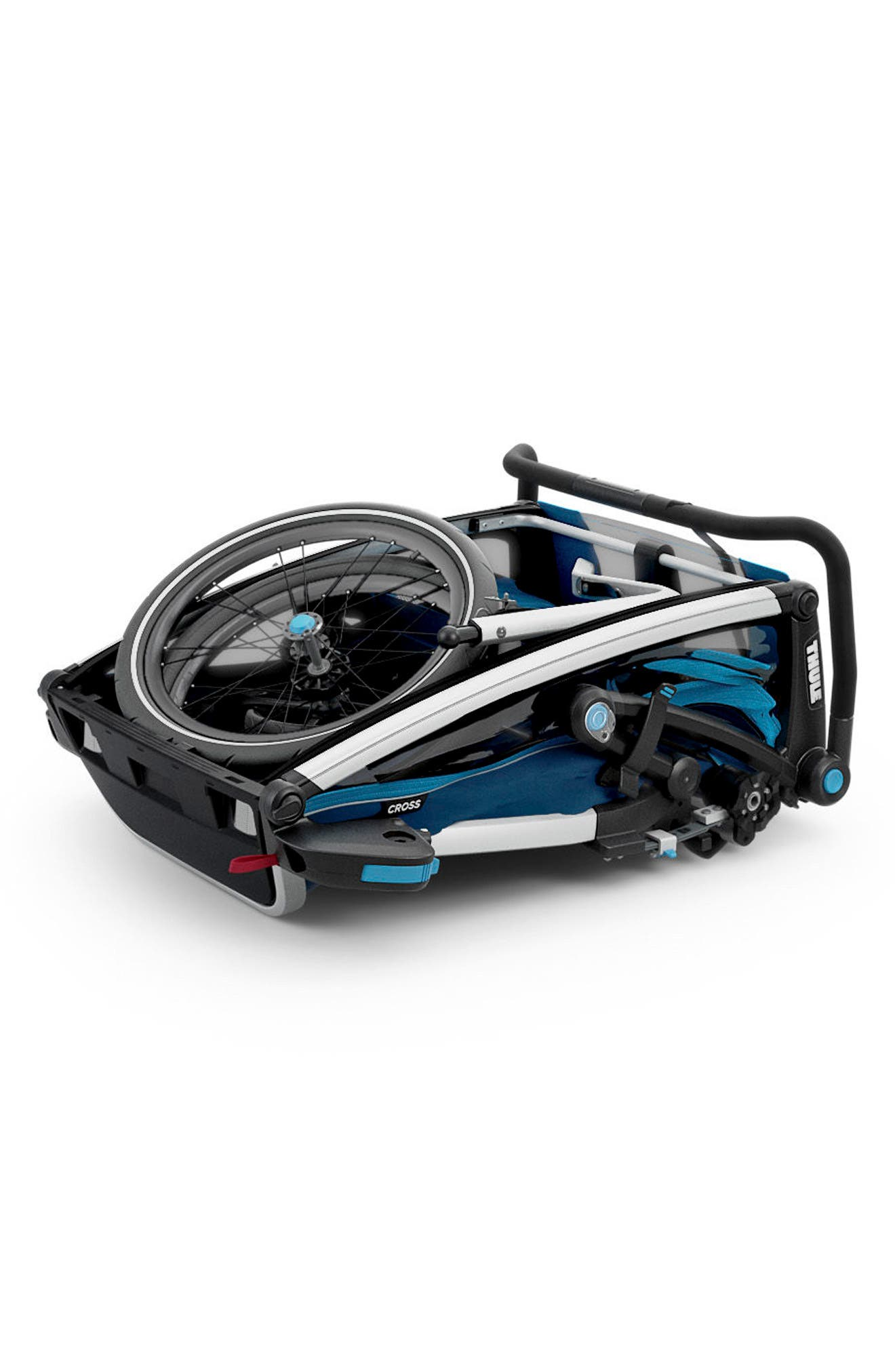 Chariot Cross 2 Multisport Double Cycle Trailer/Stroller,                             Alternate thumbnail 3, color,                             THULE BLUE