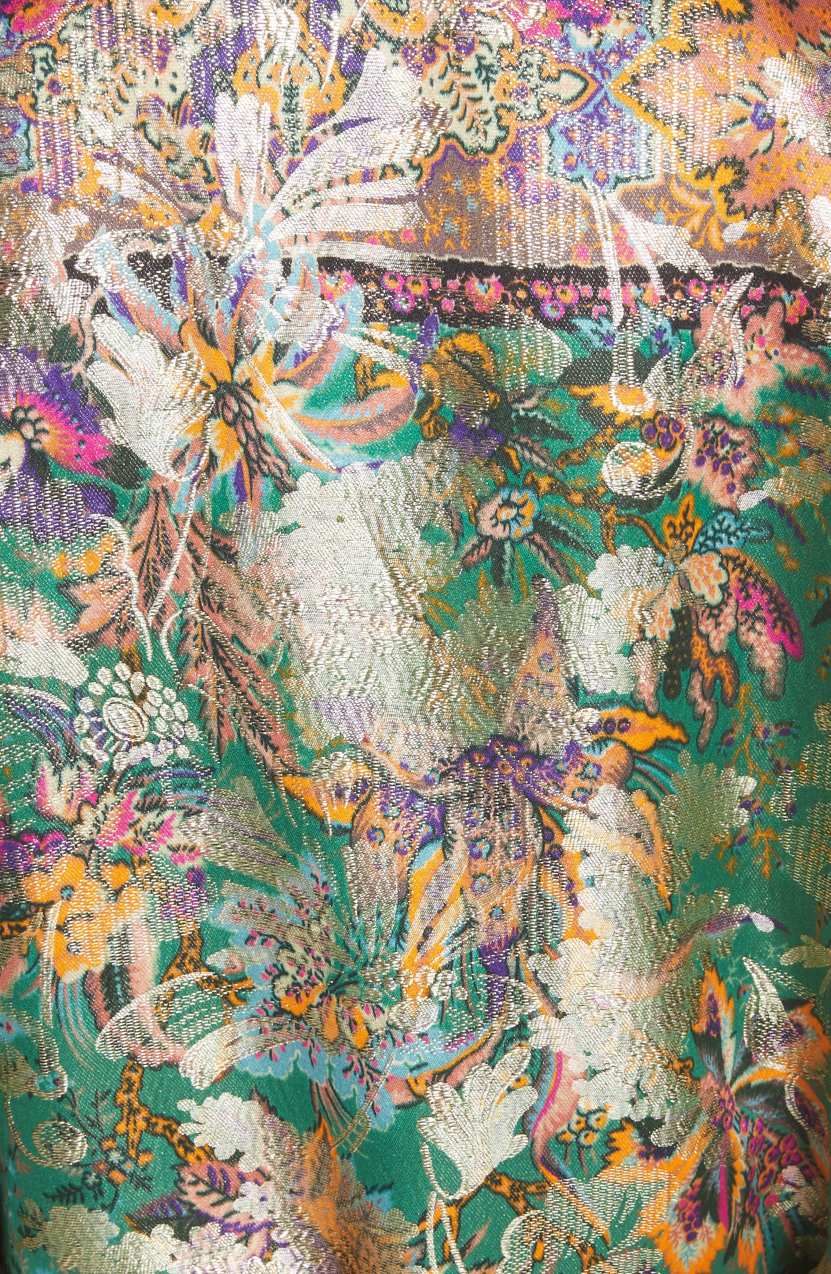 Tie Waist Silk Blend Metallic Jacquard Jacket,                             Alternate thumbnail 6, color,