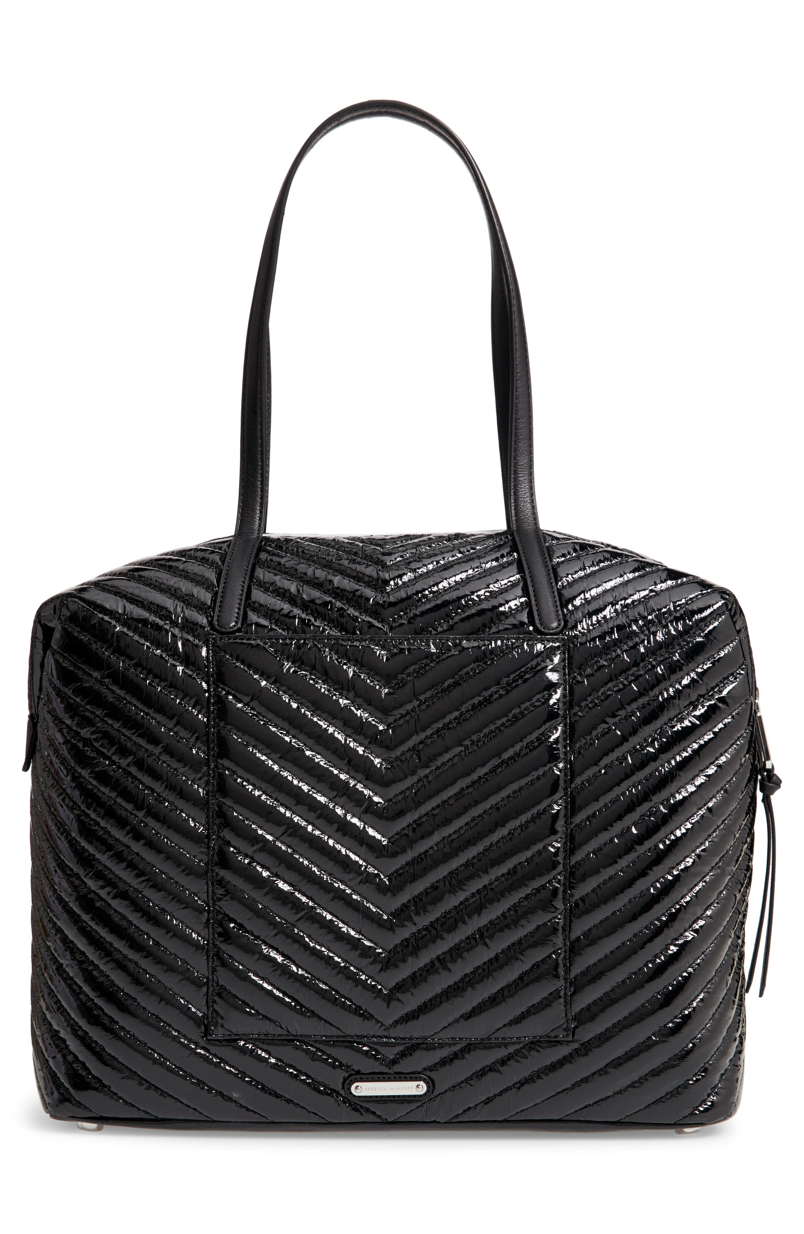 Quilted Nylon Tote,                             Alternate thumbnail 3, color,                             BLACK