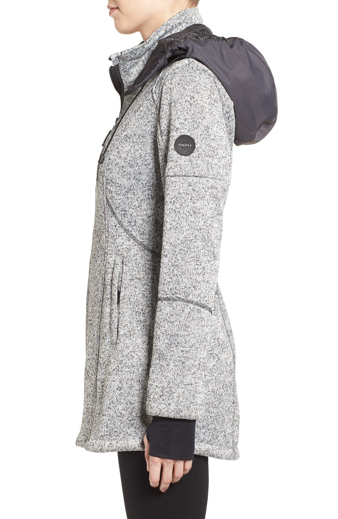 Bonded Knit Zip Front Jacket,                             Alternate thumbnail 3, color,                             070