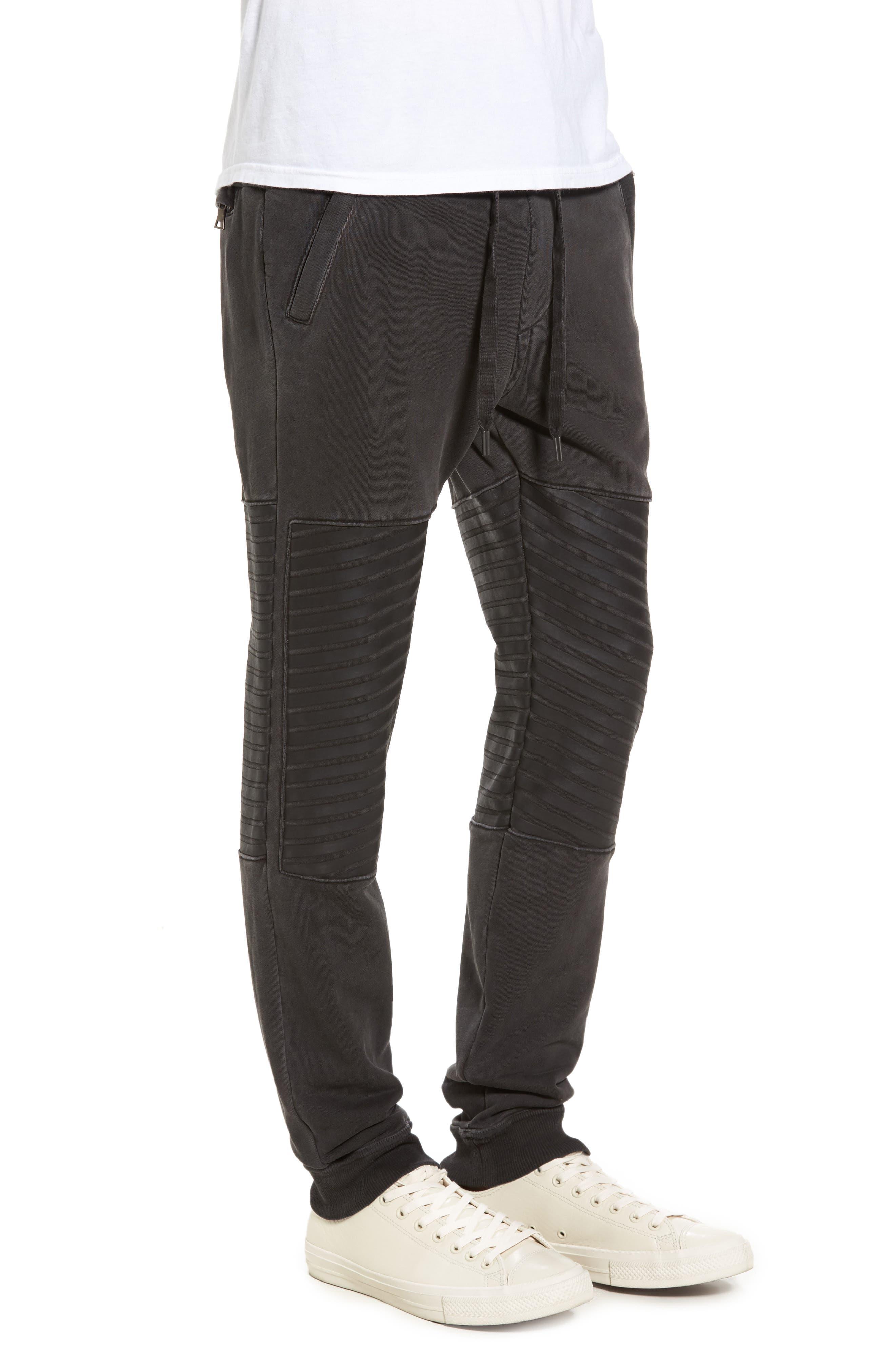 Moto Sweatpants,                             Alternate thumbnail 3, color,                             001