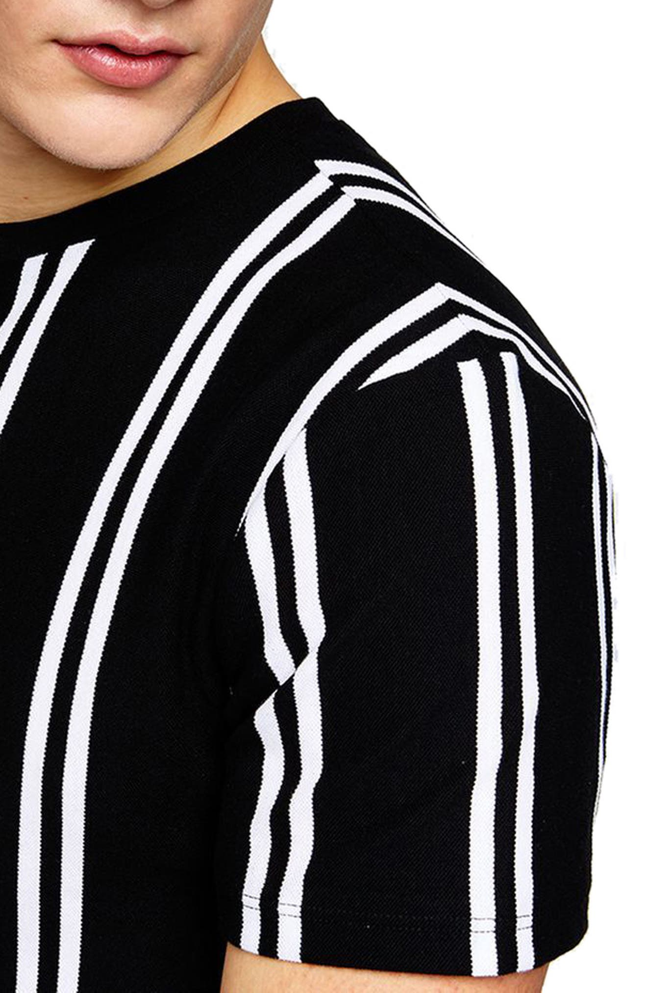 Stripe Piqué T-Shirt,                             Alternate thumbnail 3, color,                             001