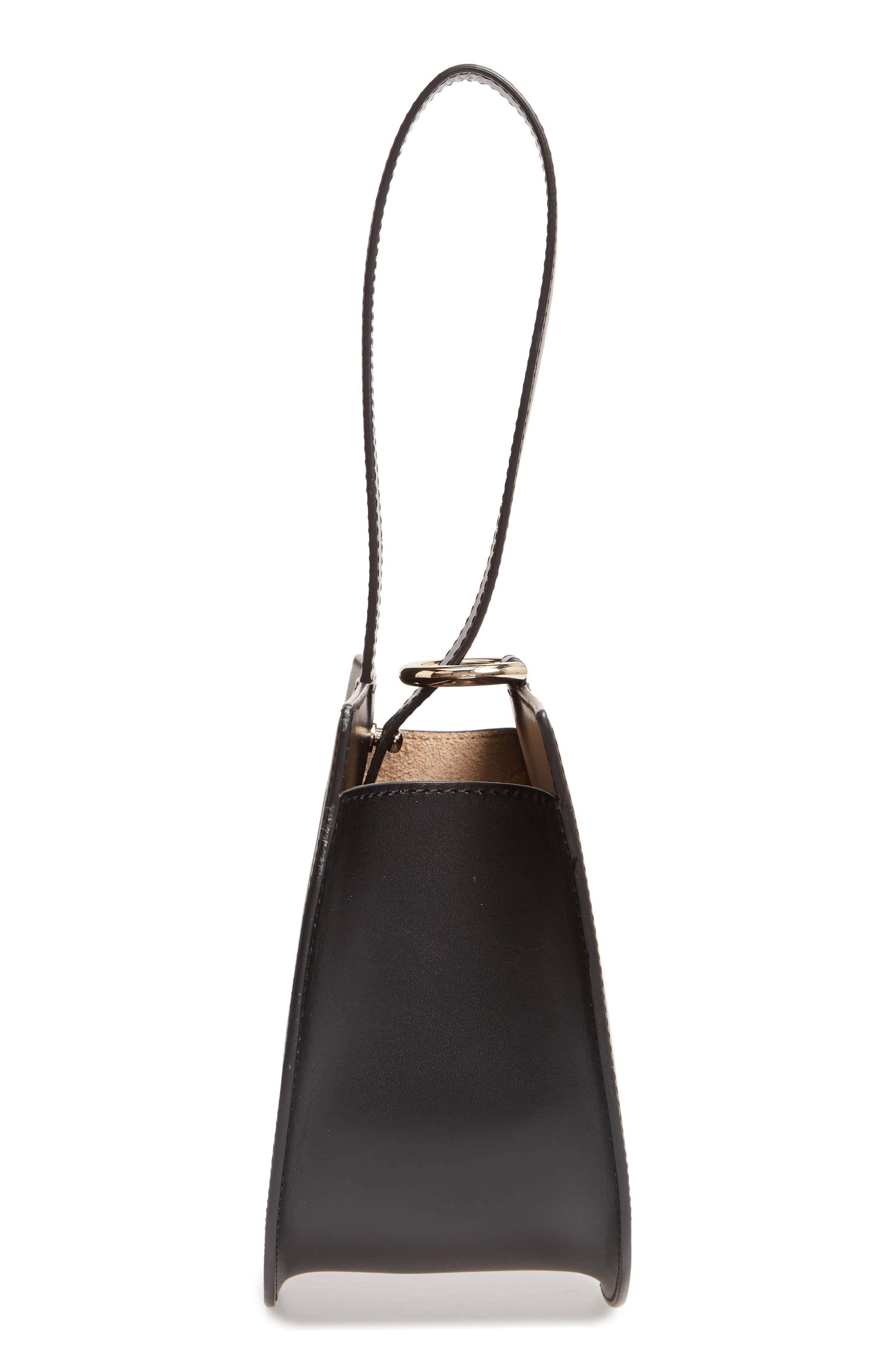 Dome Leather Wristlet,                             Alternate thumbnail 5, color,                             TRUE BLACK