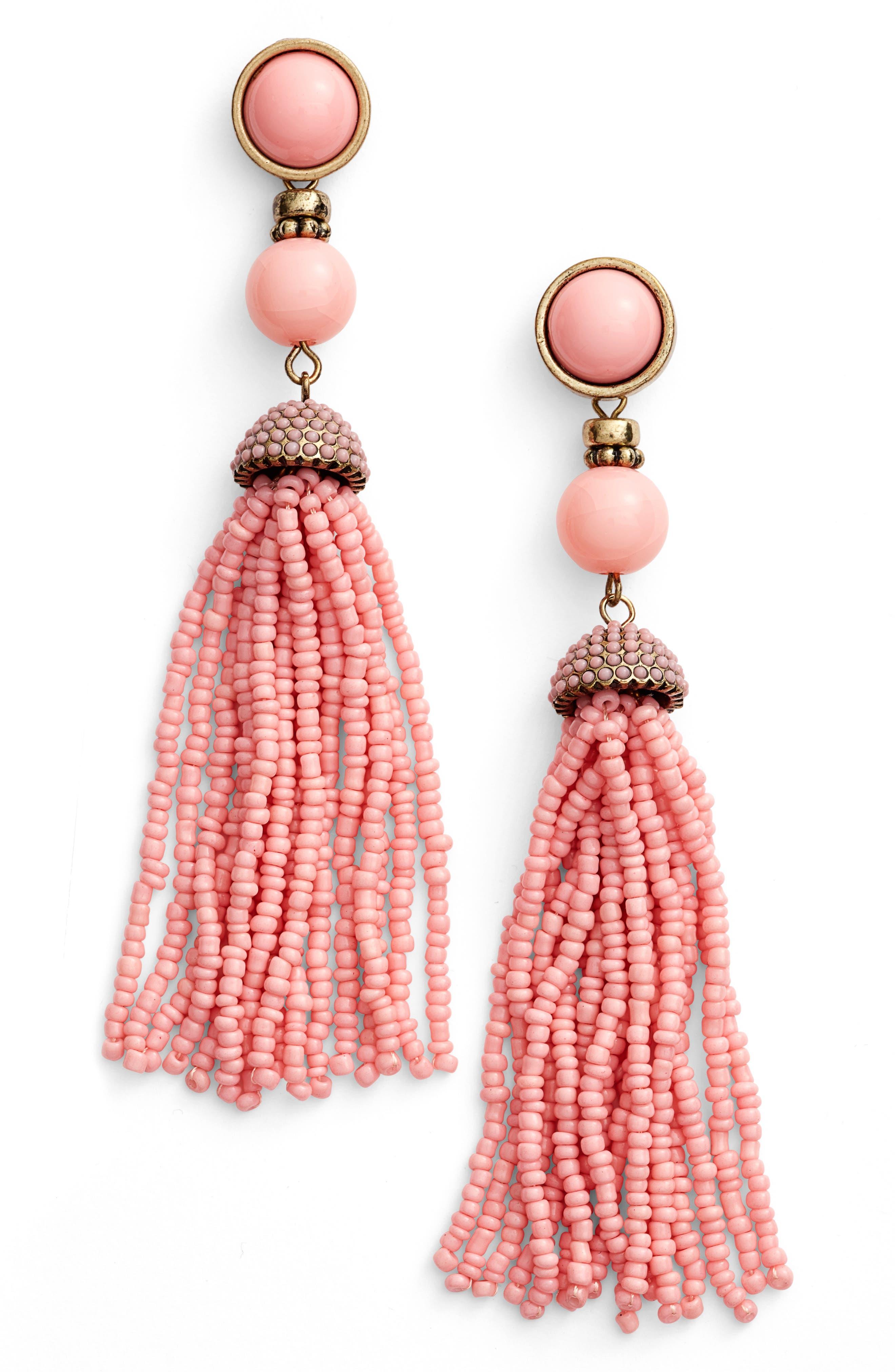 'Artemis' Beaded Tassel Drop Earrings,                             Main thumbnail 4, color,