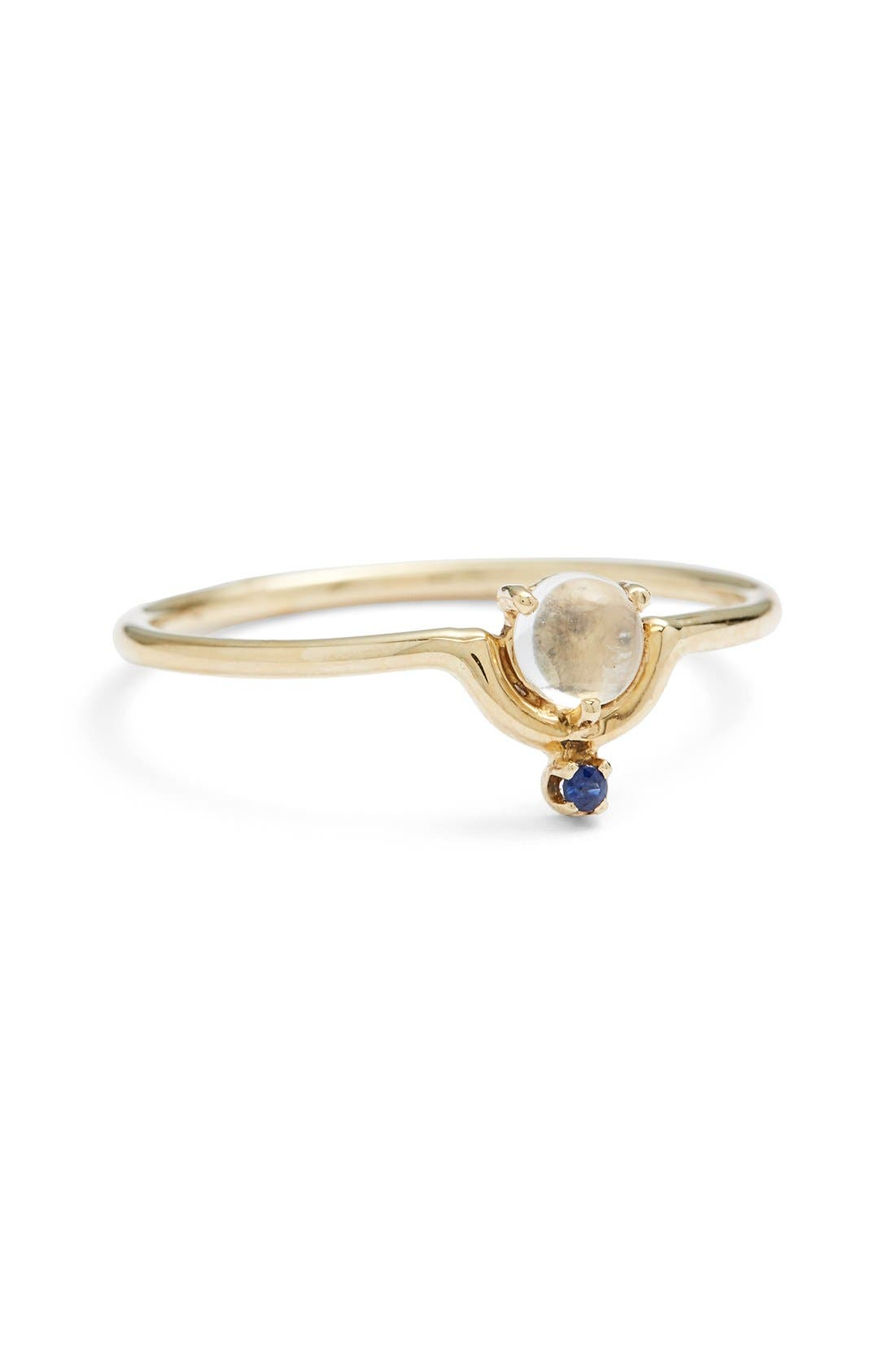Nestled Moonstone & Sapphire Ring,                         Main,                         color, YELLOW GOLD