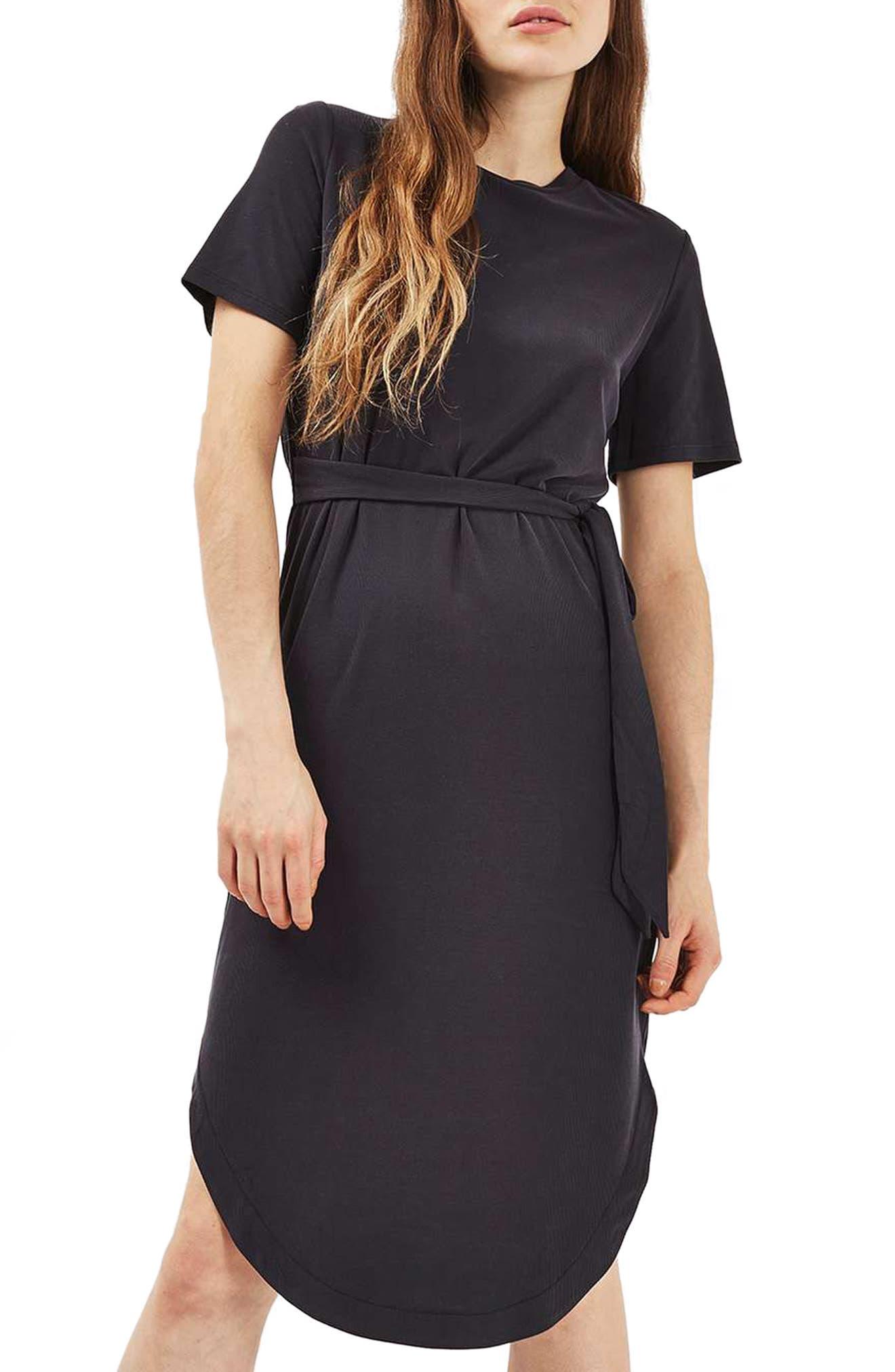 Ribbed Midi Dress,                             Main thumbnail 1, color,                             001