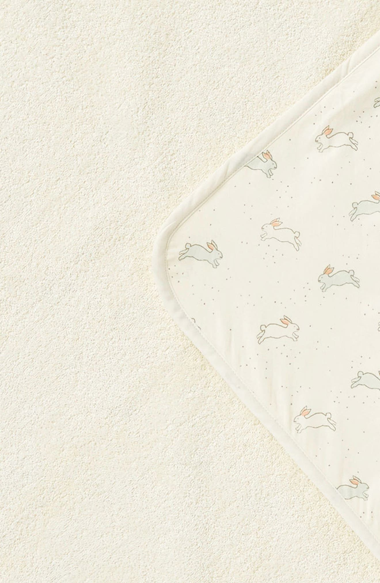 Tiny Bunny Print Hooded Towel,                             Alternate thumbnail 4, color,                             CREAM