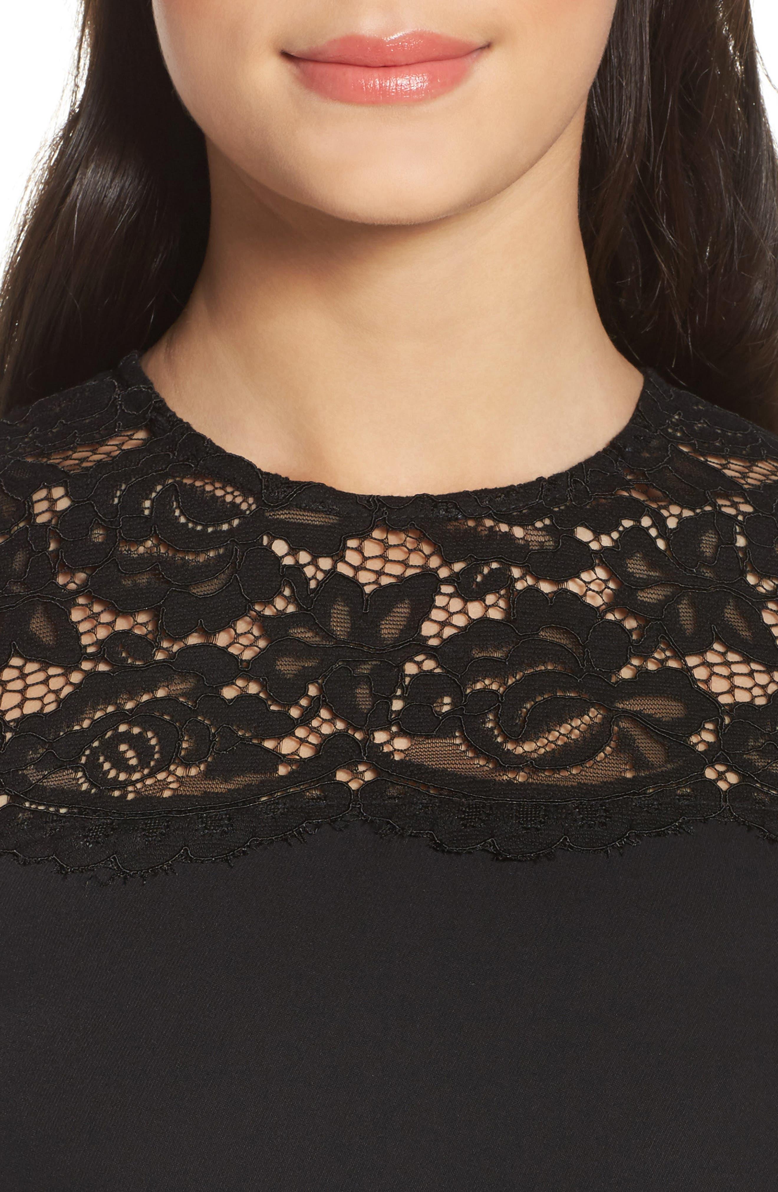 Lace & Crepe Shift Dress,                             Alternate thumbnail 7, color,