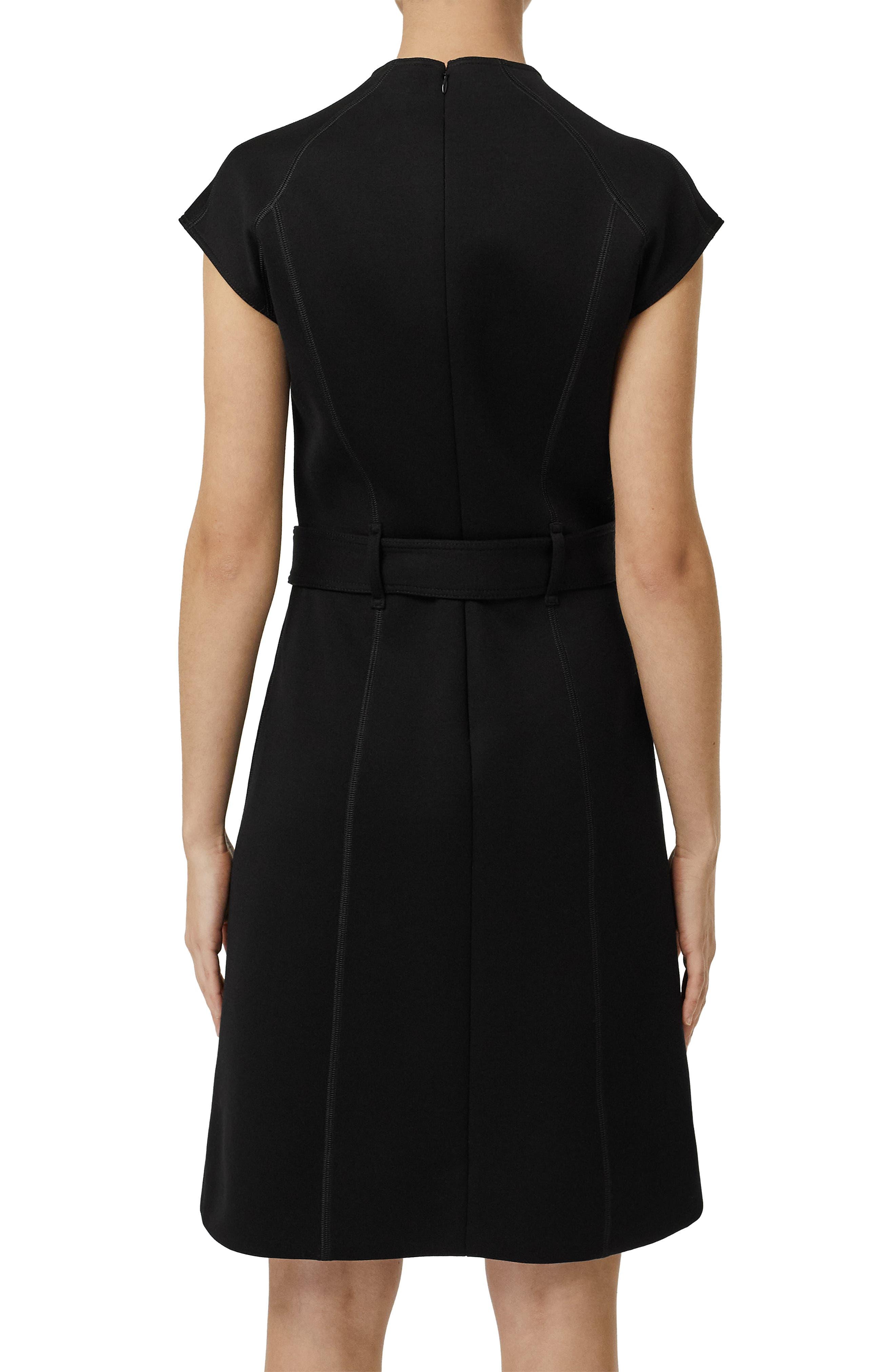 Dulsie D-Ring Detail Bonded Jersey Dress,                             Alternate thumbnail 5, color,                             BLACK
