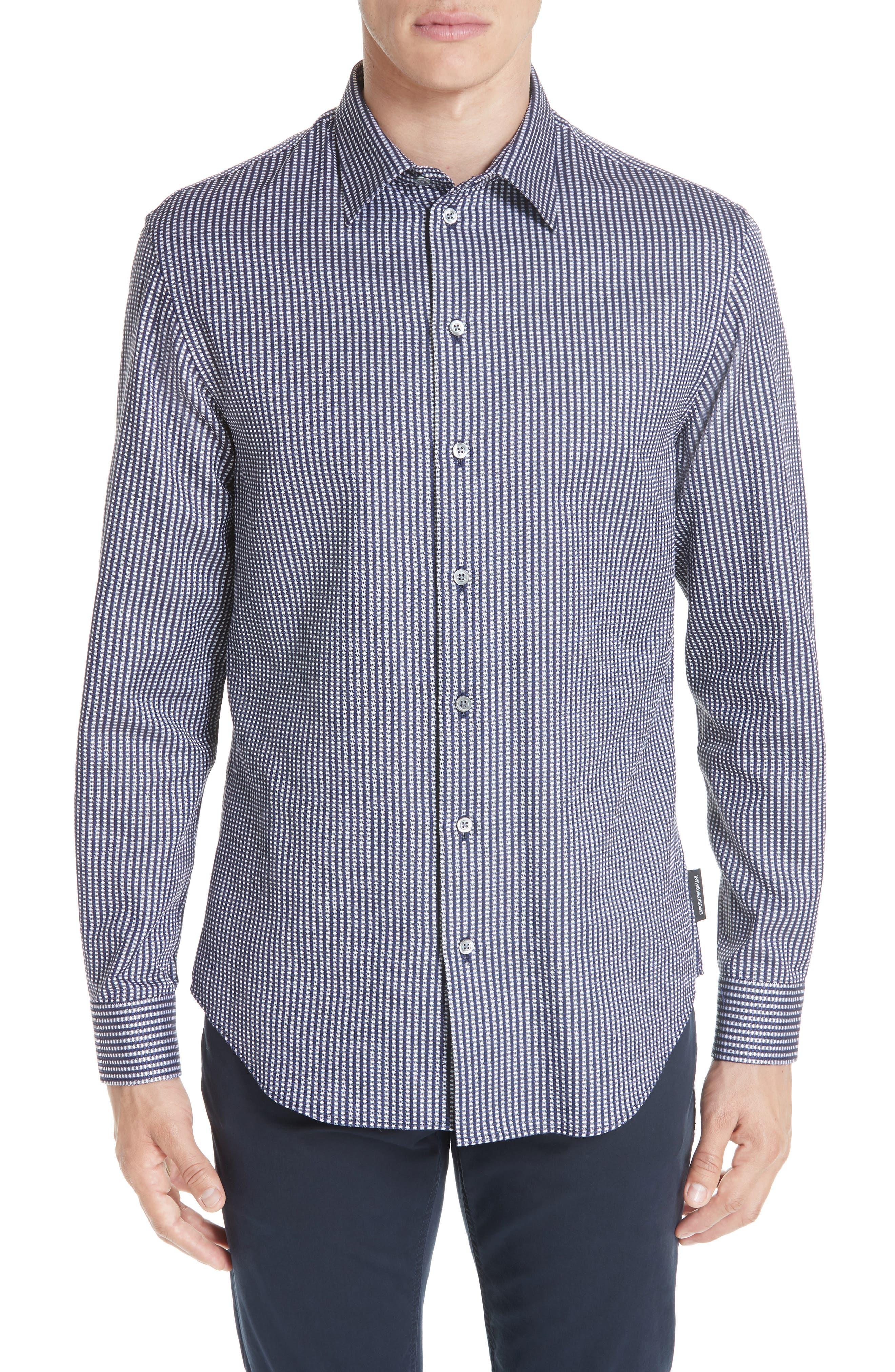 Regular Fit Solid Sport Shirt,                         Main,                         color, BLUE MULTI