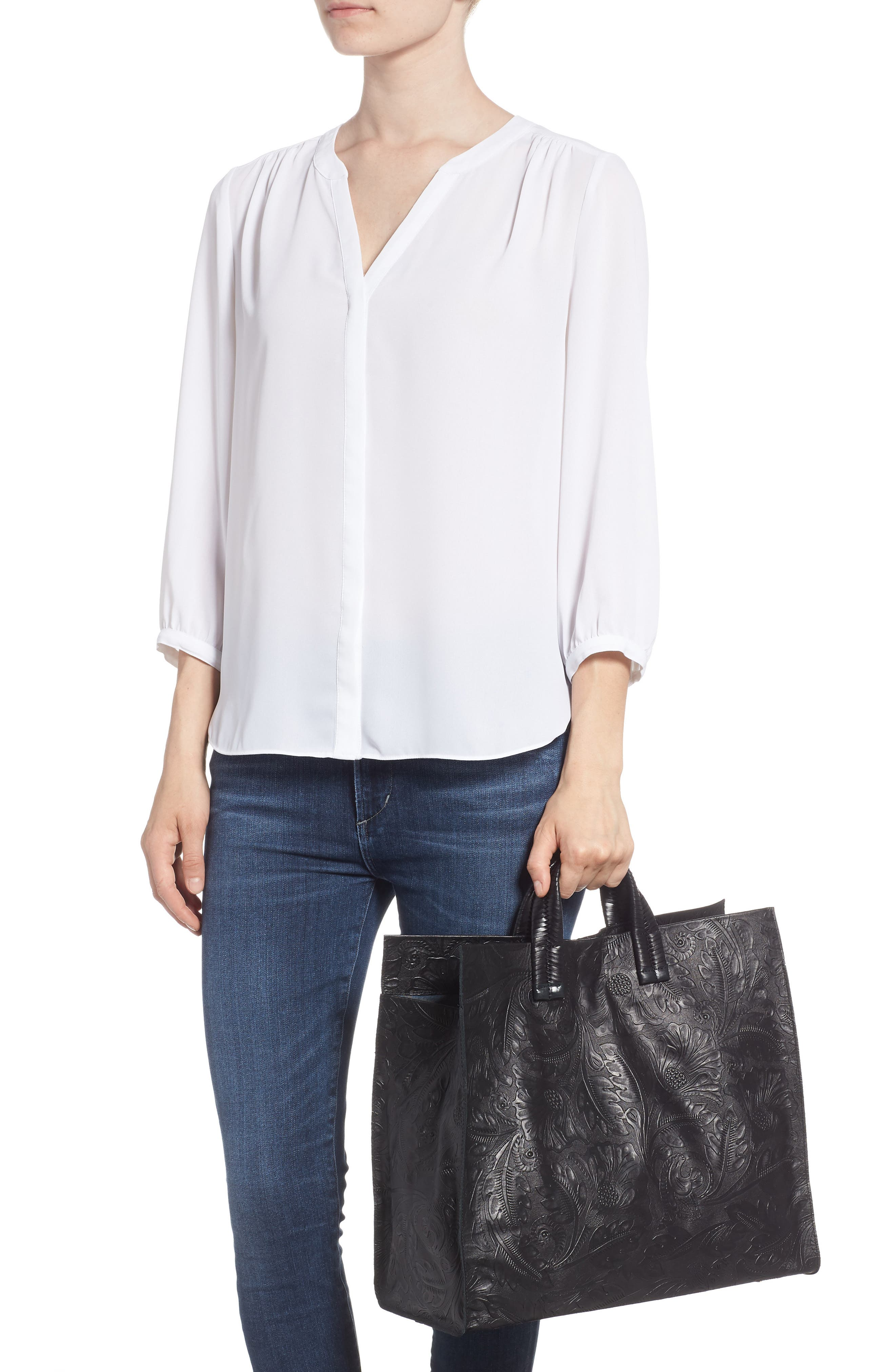 Simple Flower Embossed Leather Tote,                             Alternate thumbnail 2, color,                             001