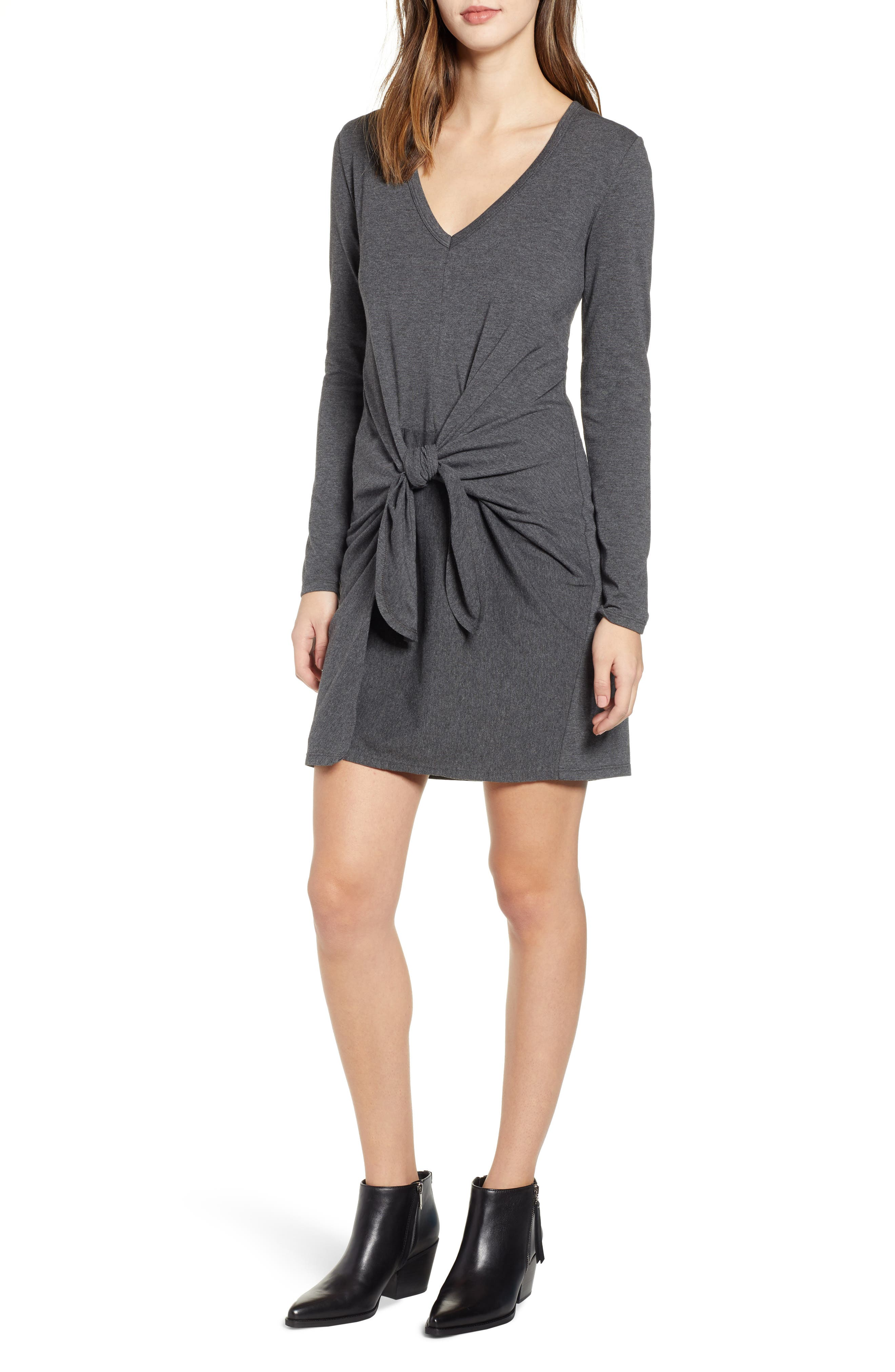 Socialite Tie Waist Dress, Grey