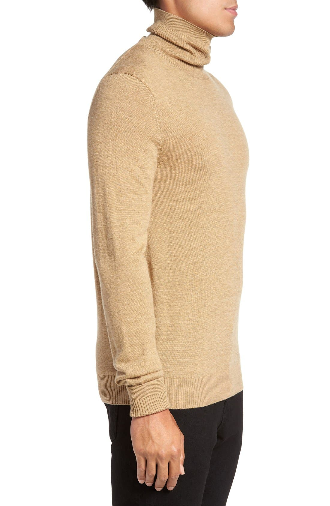 VINCE CAMUTO,                             Merino Wool Turtleneck,                             Alternate thumbnail 3, color,                             CAMEL