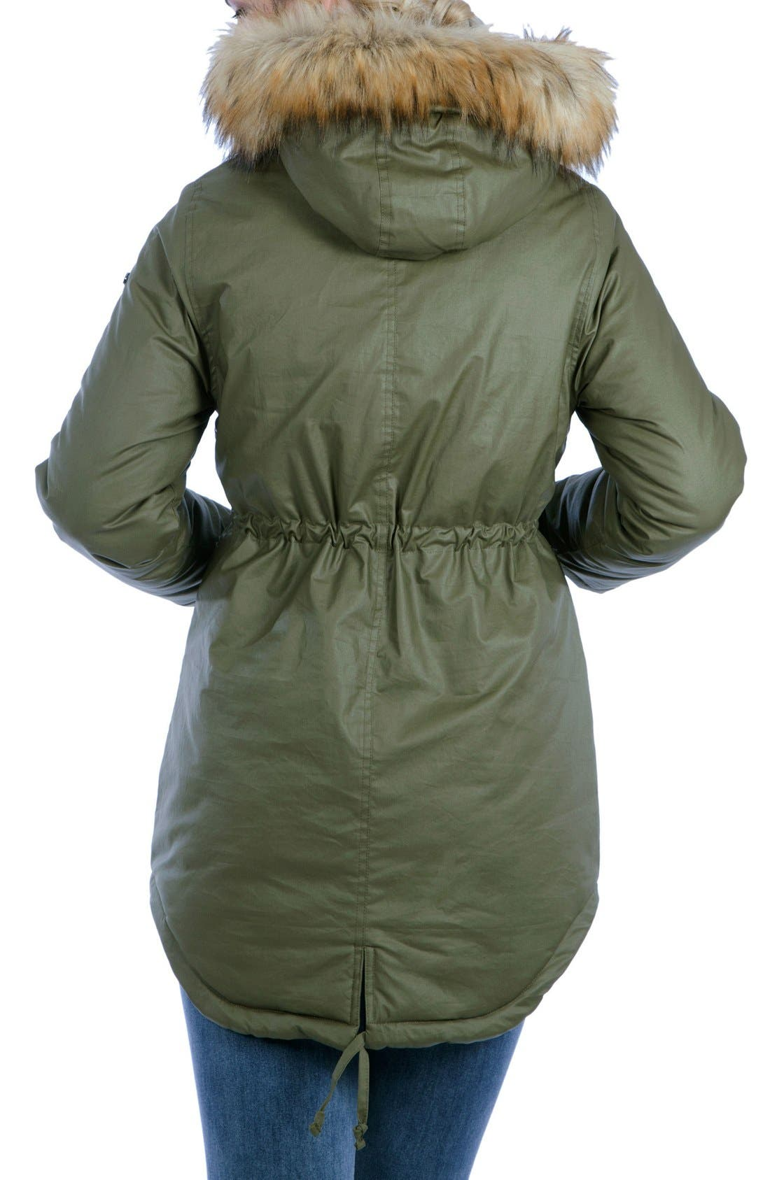 Sofia Waxed 3-in-1 Maternity/Nursing Jacket with Faux Fur Trim,                             Alternate thumbnail 2, color,                             KHAKI GREEN