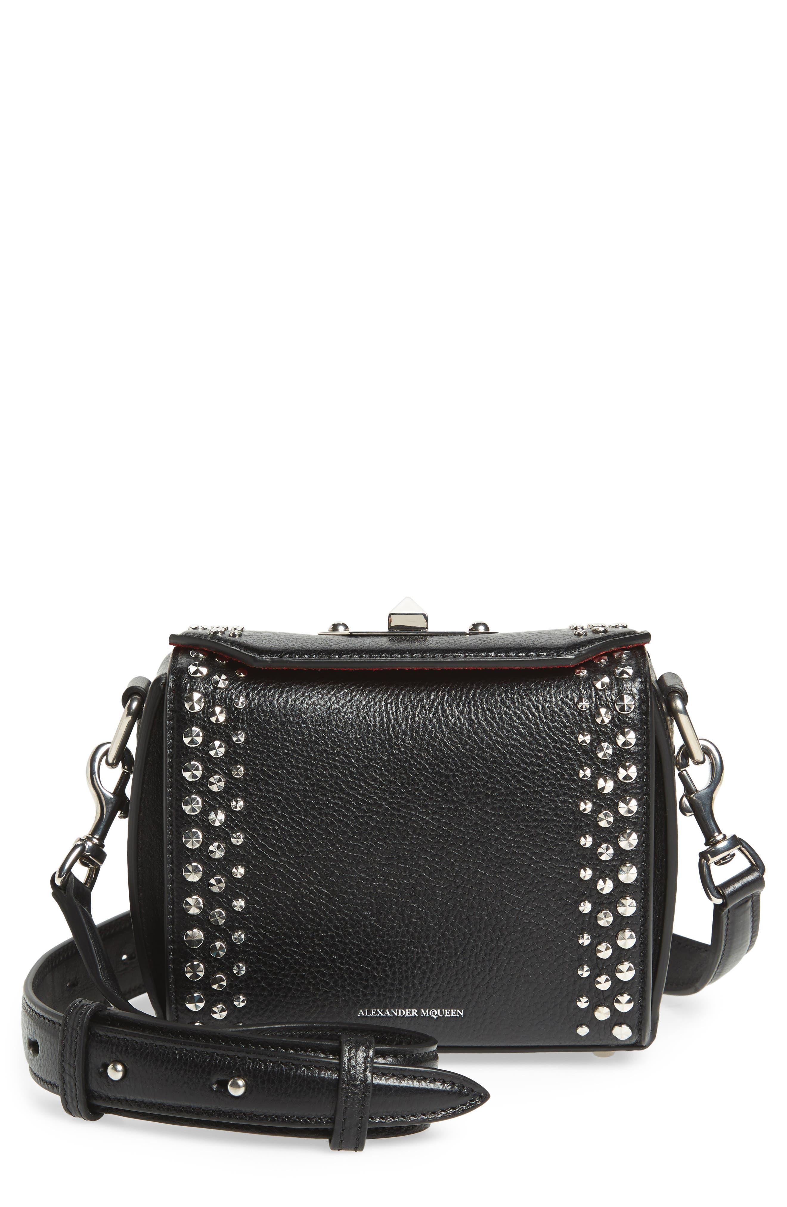 Box Bag 16 Studded Leather Bag,                             Main thumbnail 1, color,                             BLACK