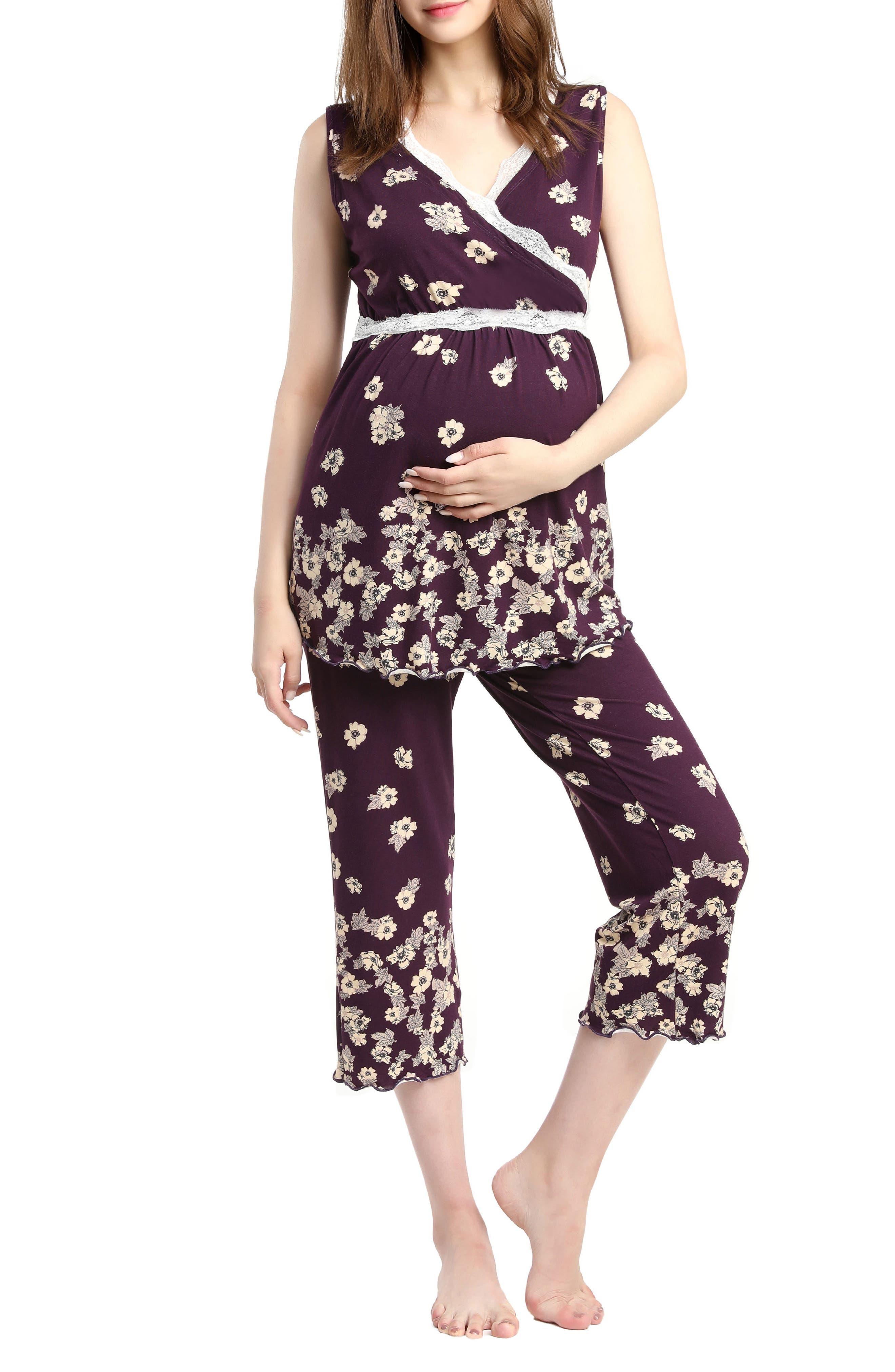 Kimi & Kai Loren Nursing/Maternity Pajamas,                             Main thumbnail 1, color,                             EGGPLANT