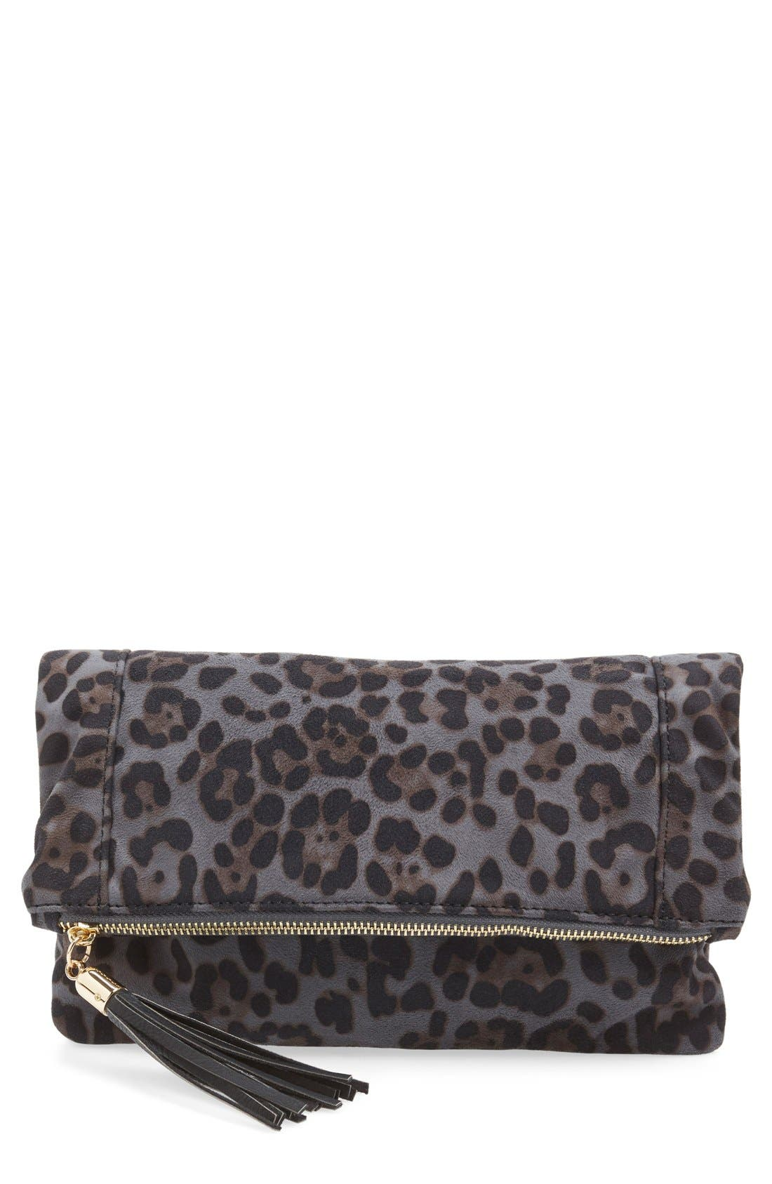 'Tasia' Print Foldover Clutch,                         Main,                         color, 020