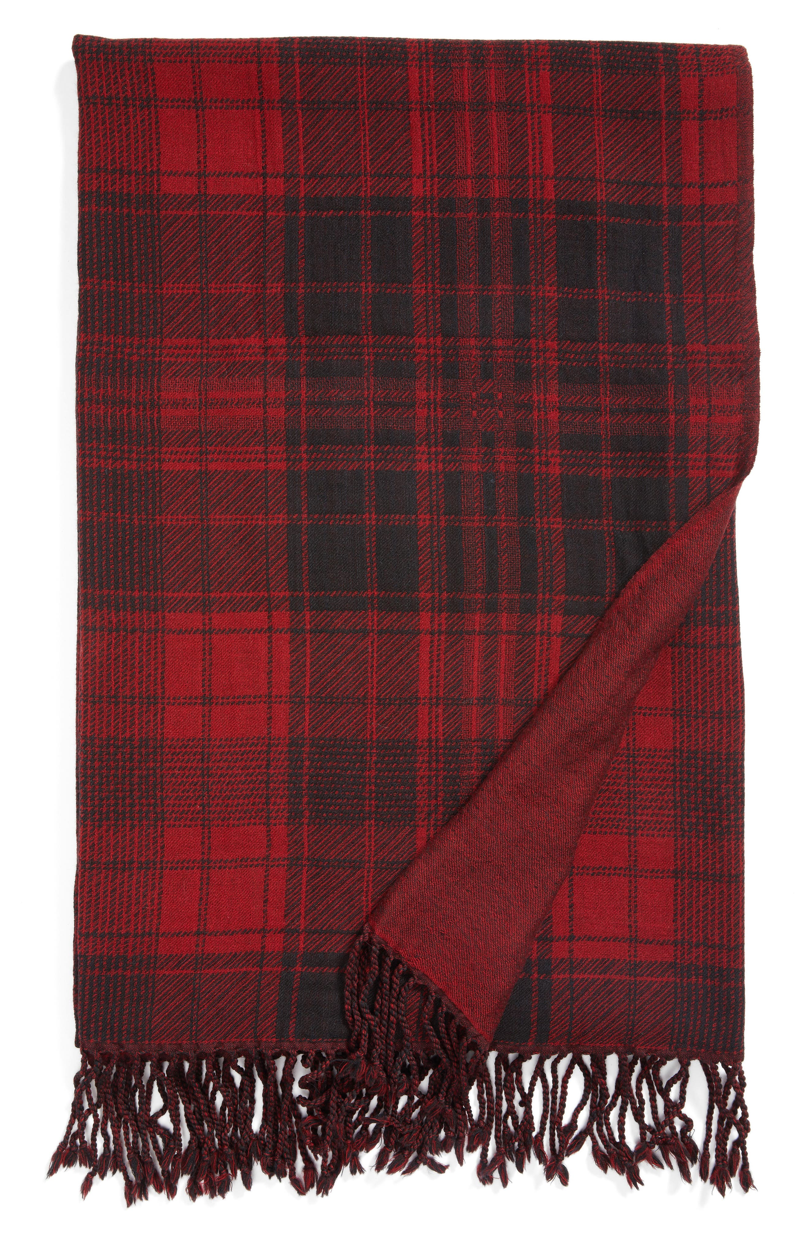 Plaid Double Face Merino Wool Throw,                             Main thumbnail 1, color,                             RED BLACK BLANKET PLAID