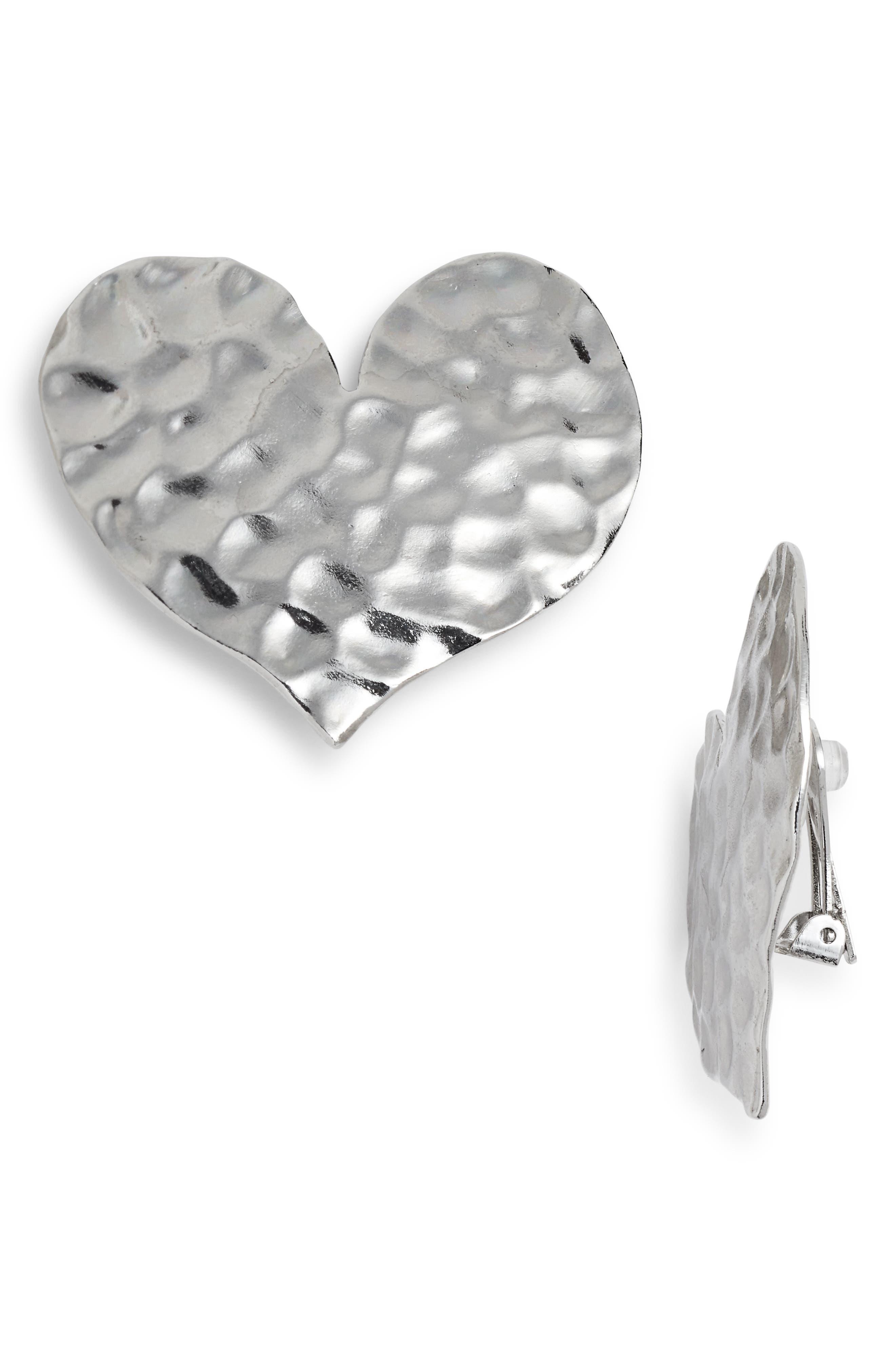 Hammered Metal Heart Earrings,                             Main thumbnail 1, color,                             040