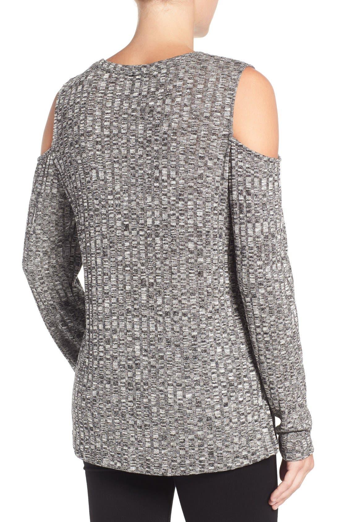 BOBEAU,                             Cold Shoulder Ribbed Sweater,                             Alternate thumbnail 3, color,                             014