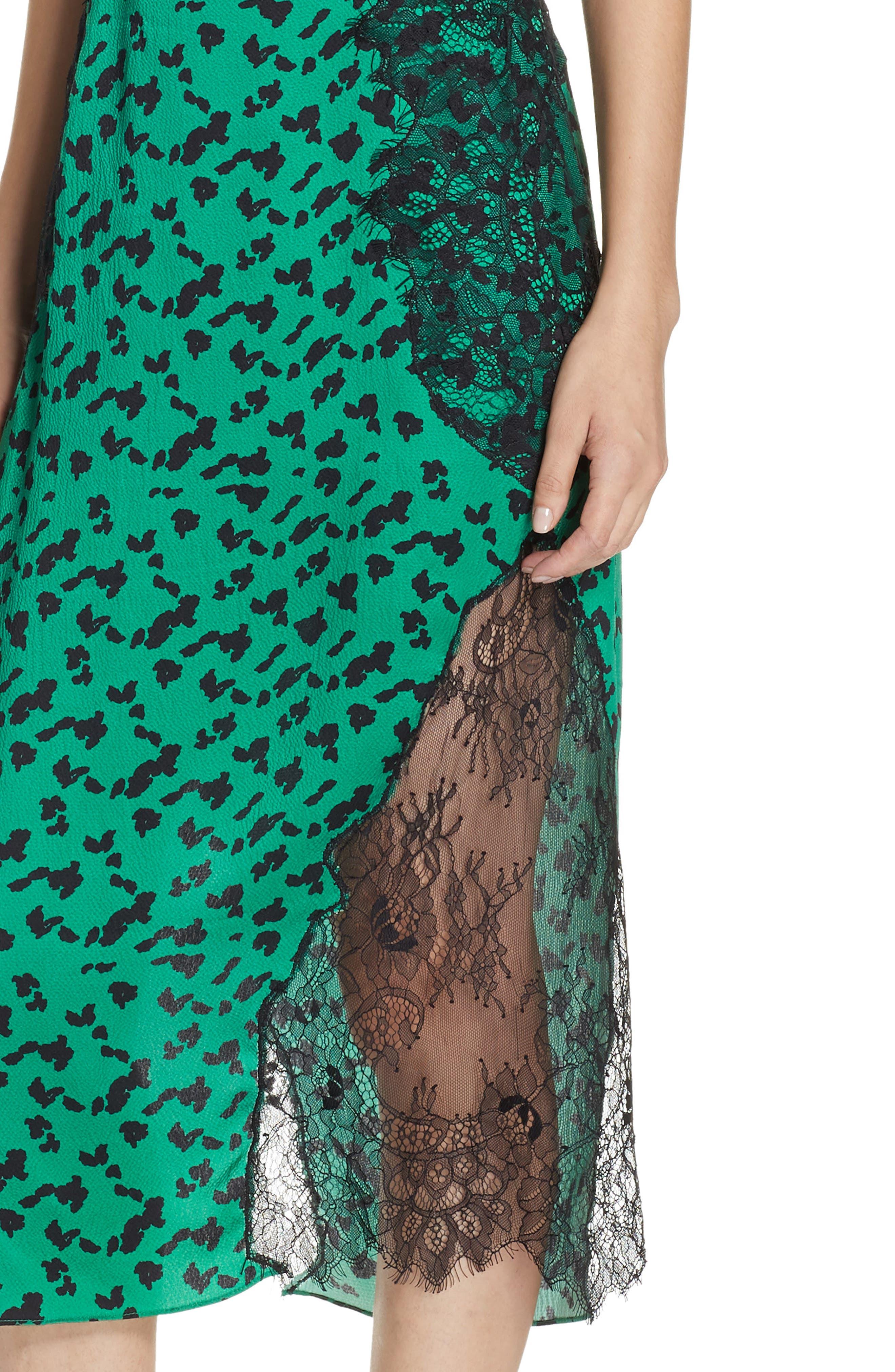 Irina Spot Silhouette Lace & Silk Dress,                             Alternate thumbnail 4, color,                             GREEN