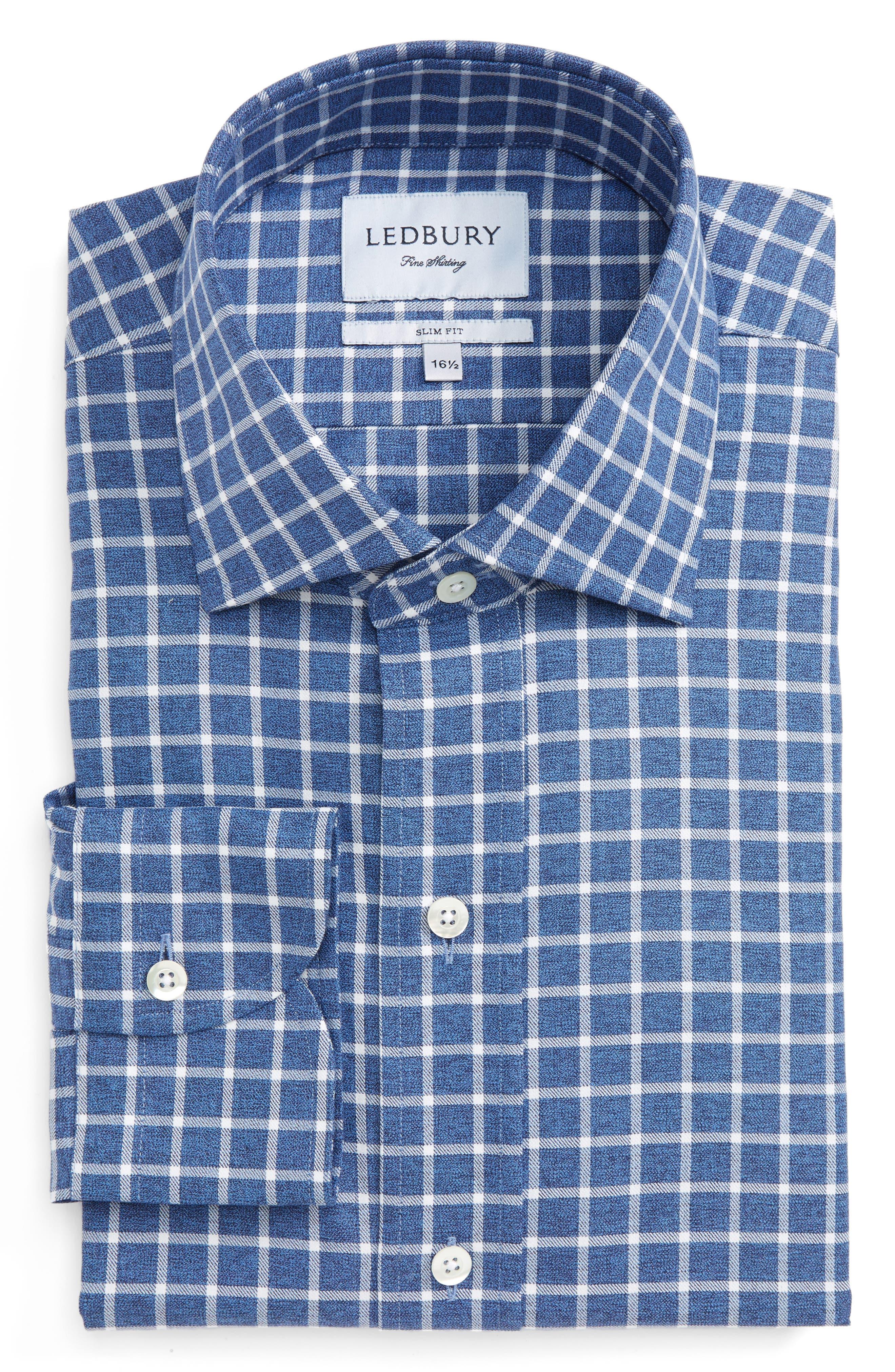 Slim Fit Check Dress Shirt,                         Main,                         color, 400