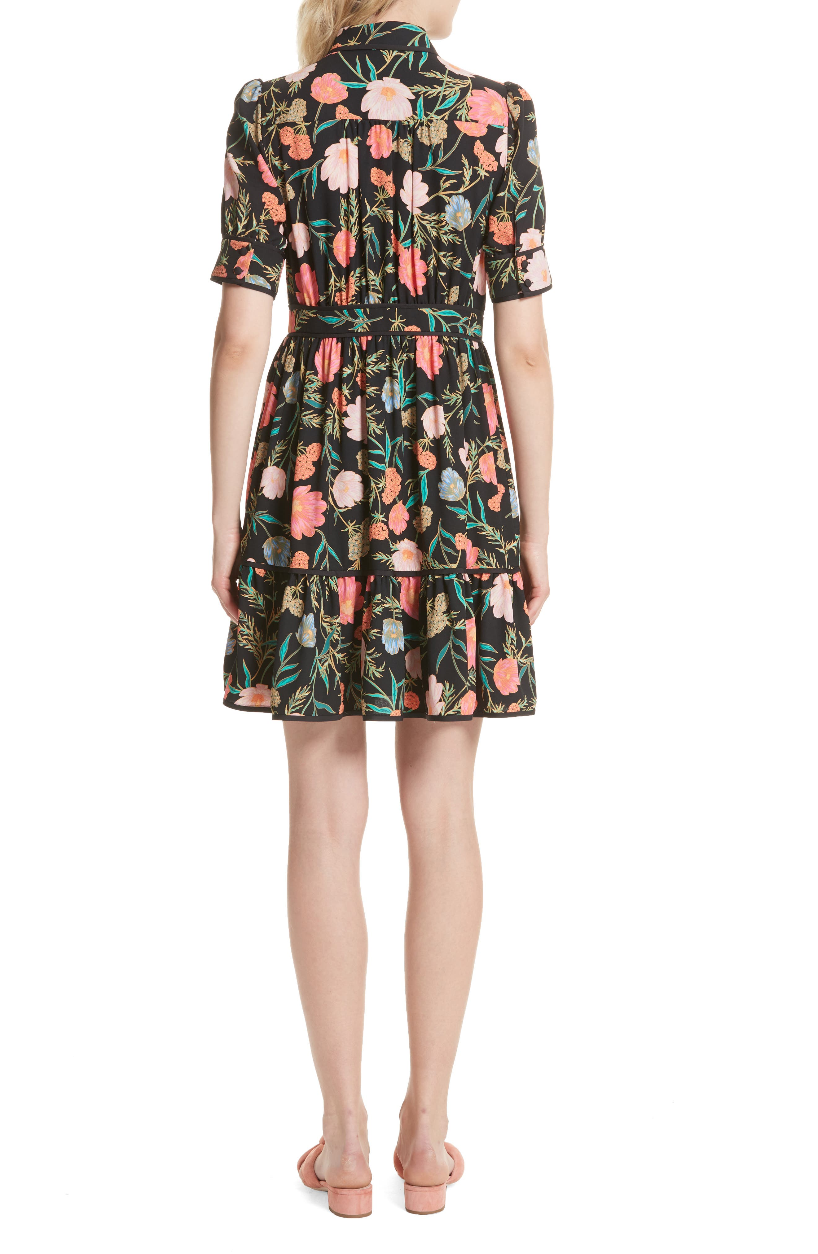 blossom print fluid shirtdress,                             Alternate thumbnail 3, color,