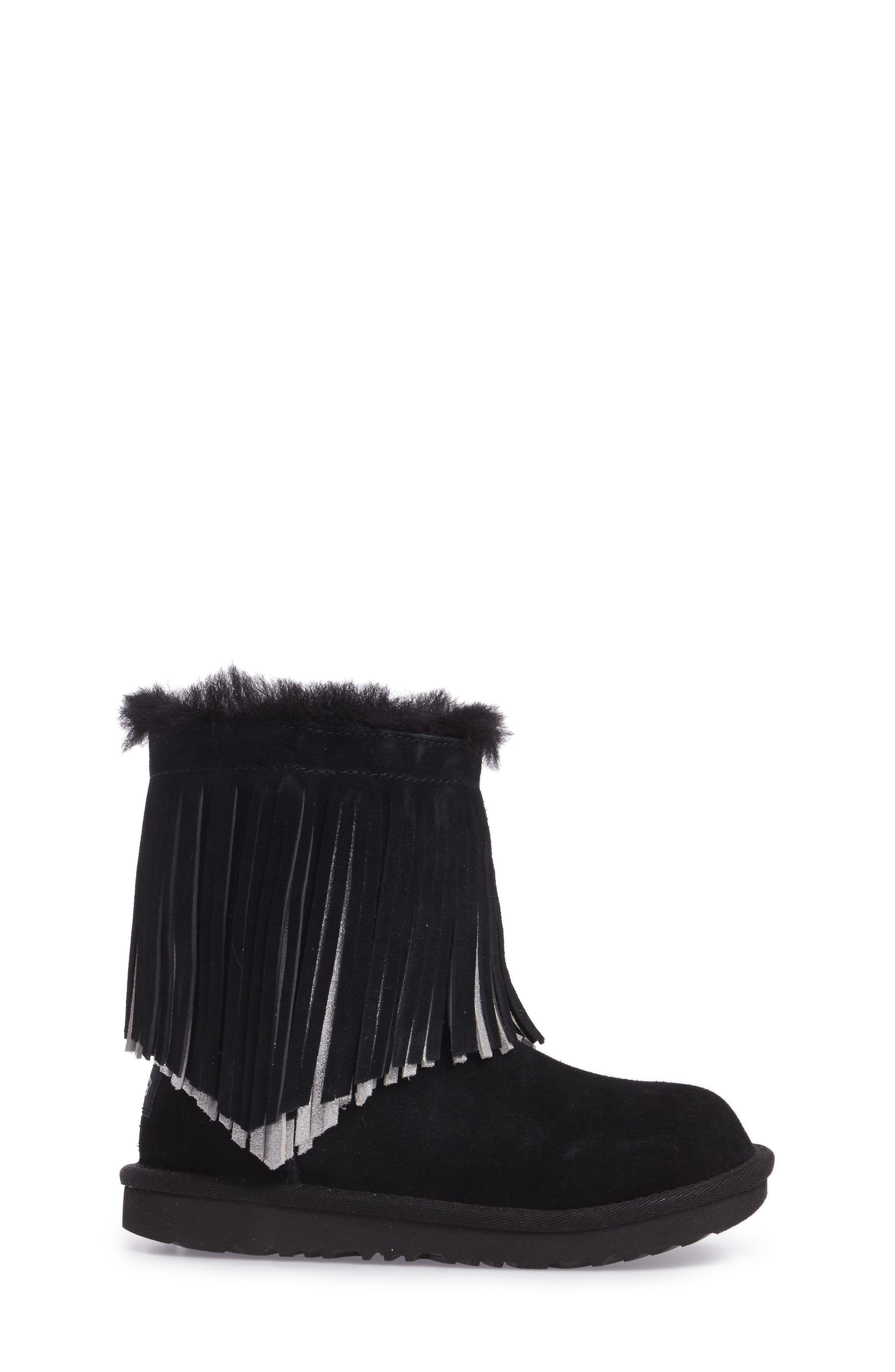Classic II Short Fringe Water Resistant Genuine Shearling Boot,                             Alternate thumbnail 3, color,                             001