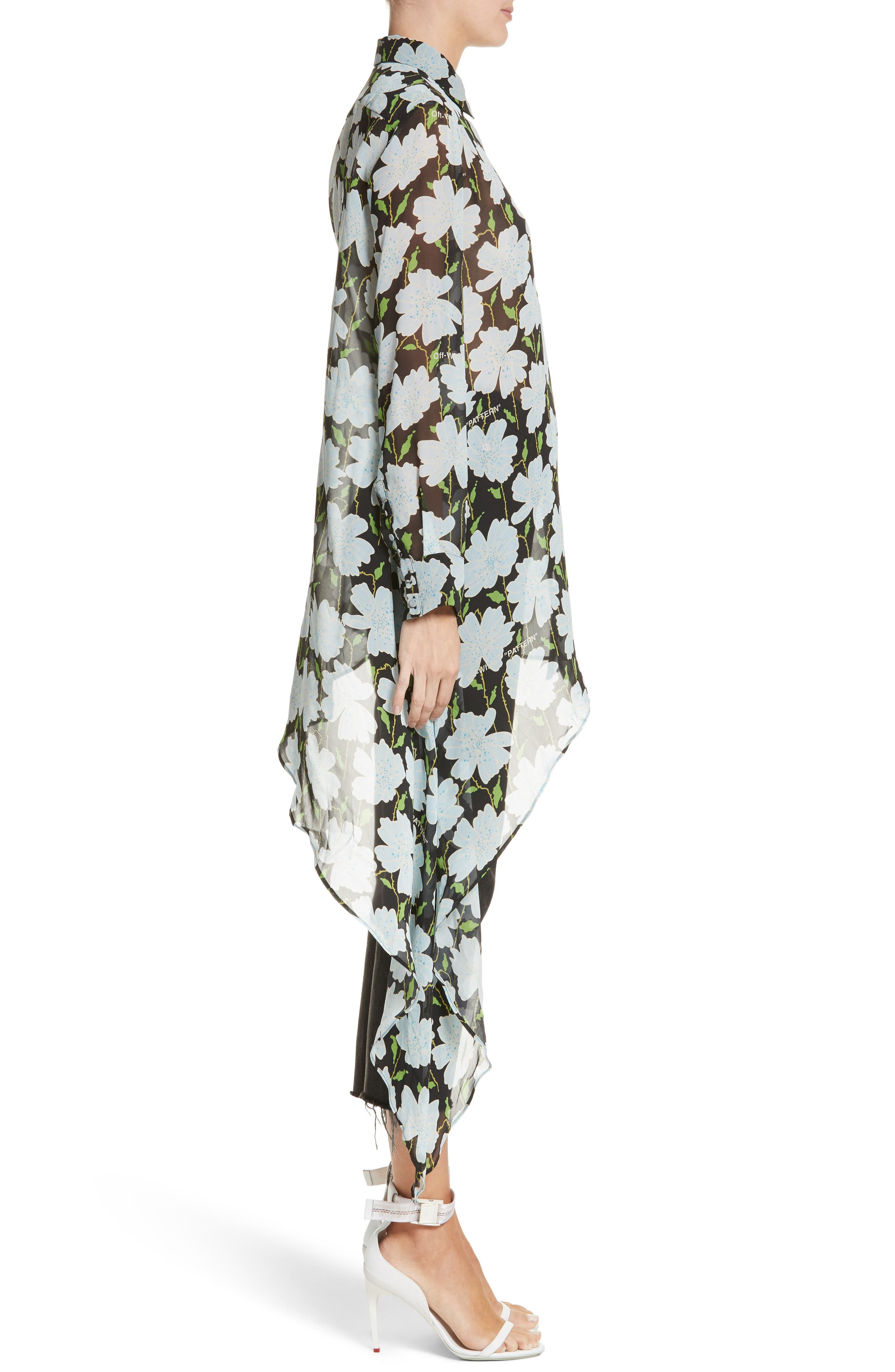 Floral Asymmetrical Silk Shirt,                             Alternate thumbnail 3, color,                             300