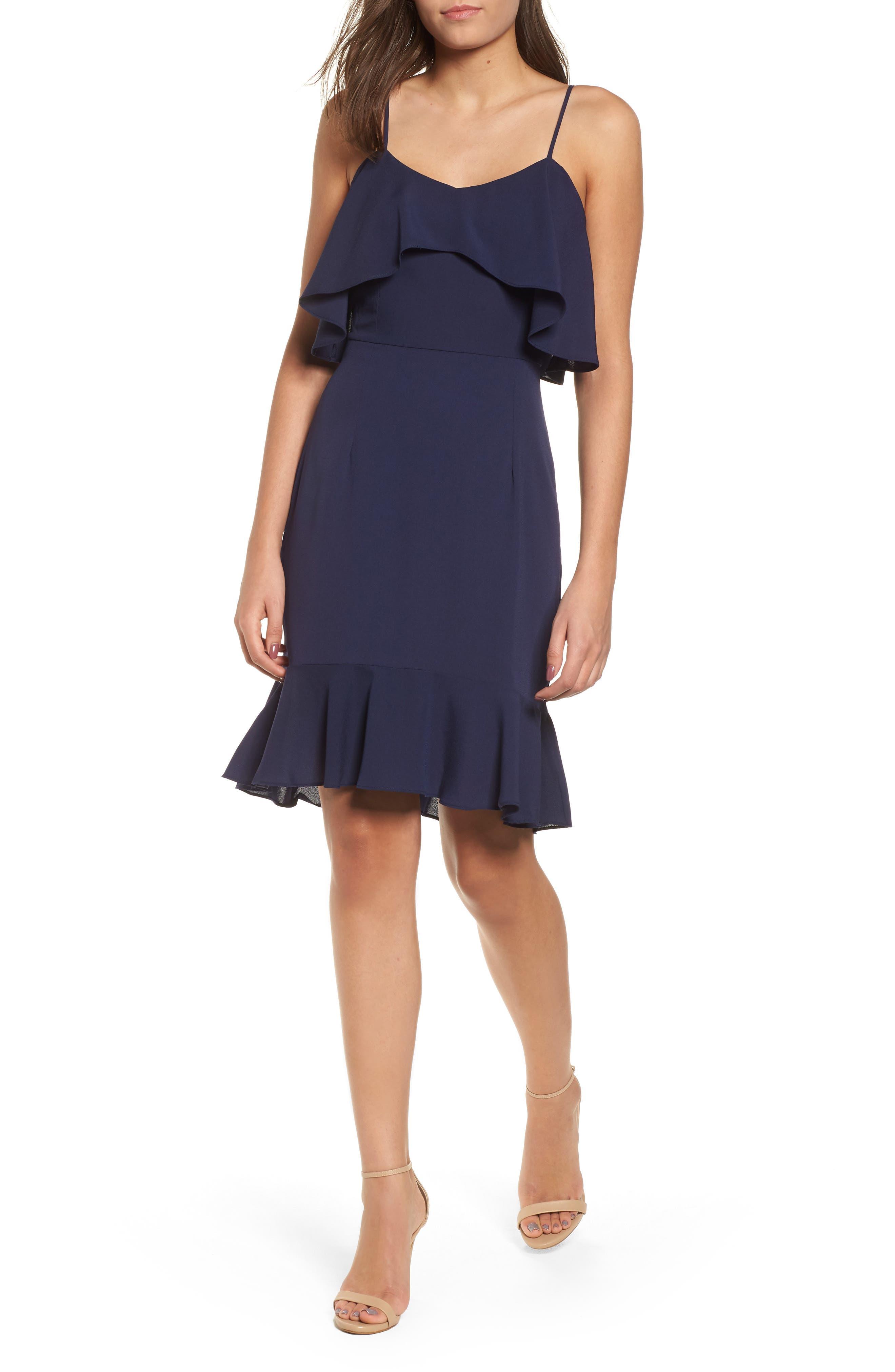 Double Ruffle Flounce Dress,                             Main thumbnail 1, color,                             NAVY PEACOAT