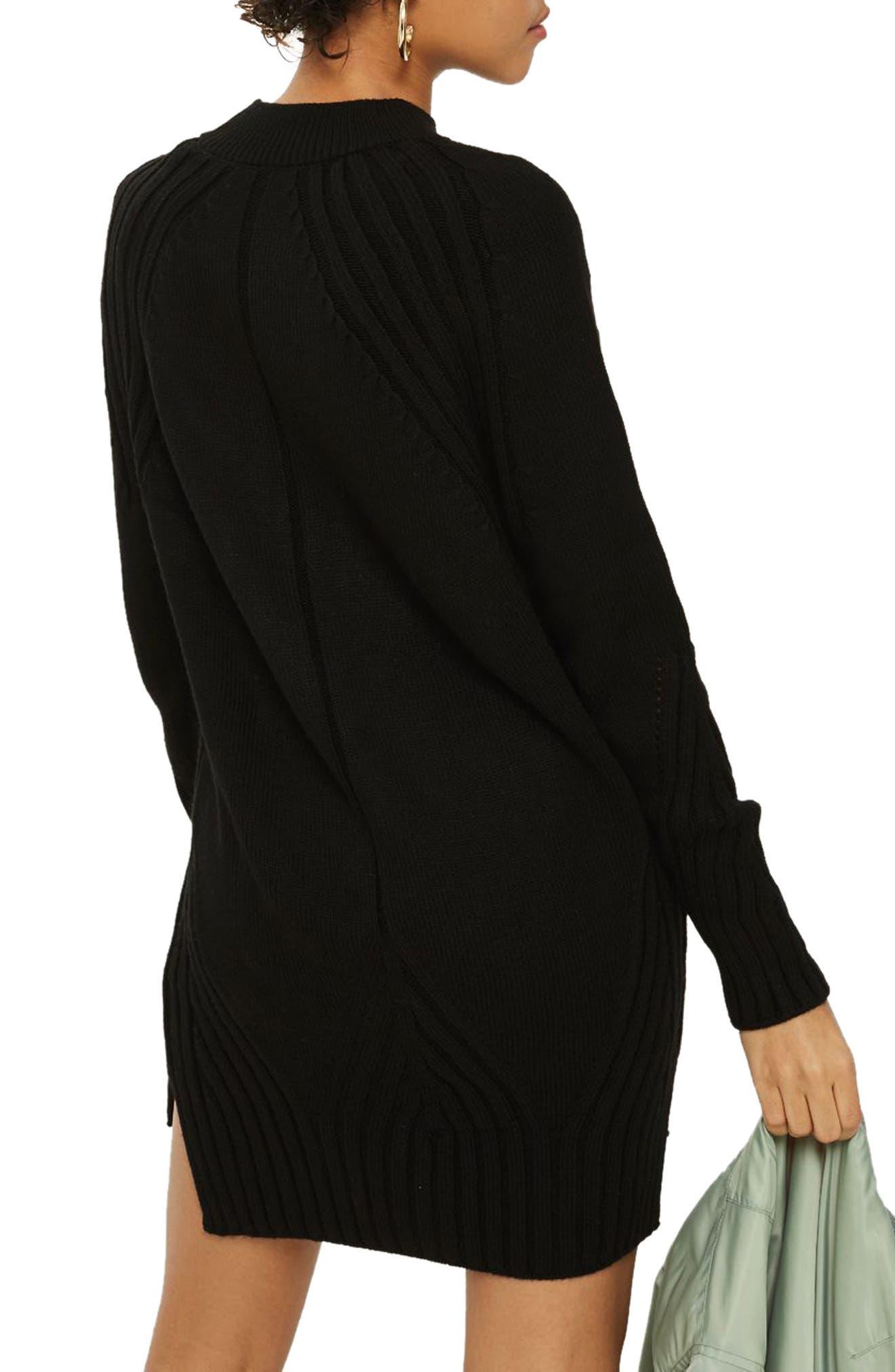Knit Detail Sweater Dress,                             Alternate thumbnail 2, color,                             001