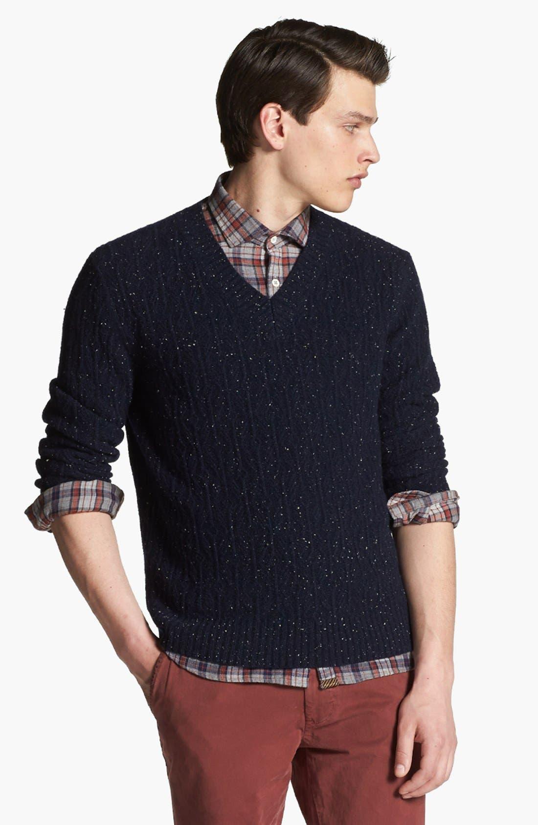 BILLY REID Diamond Knit Wool V-Neck Sweater, Main, color, 410