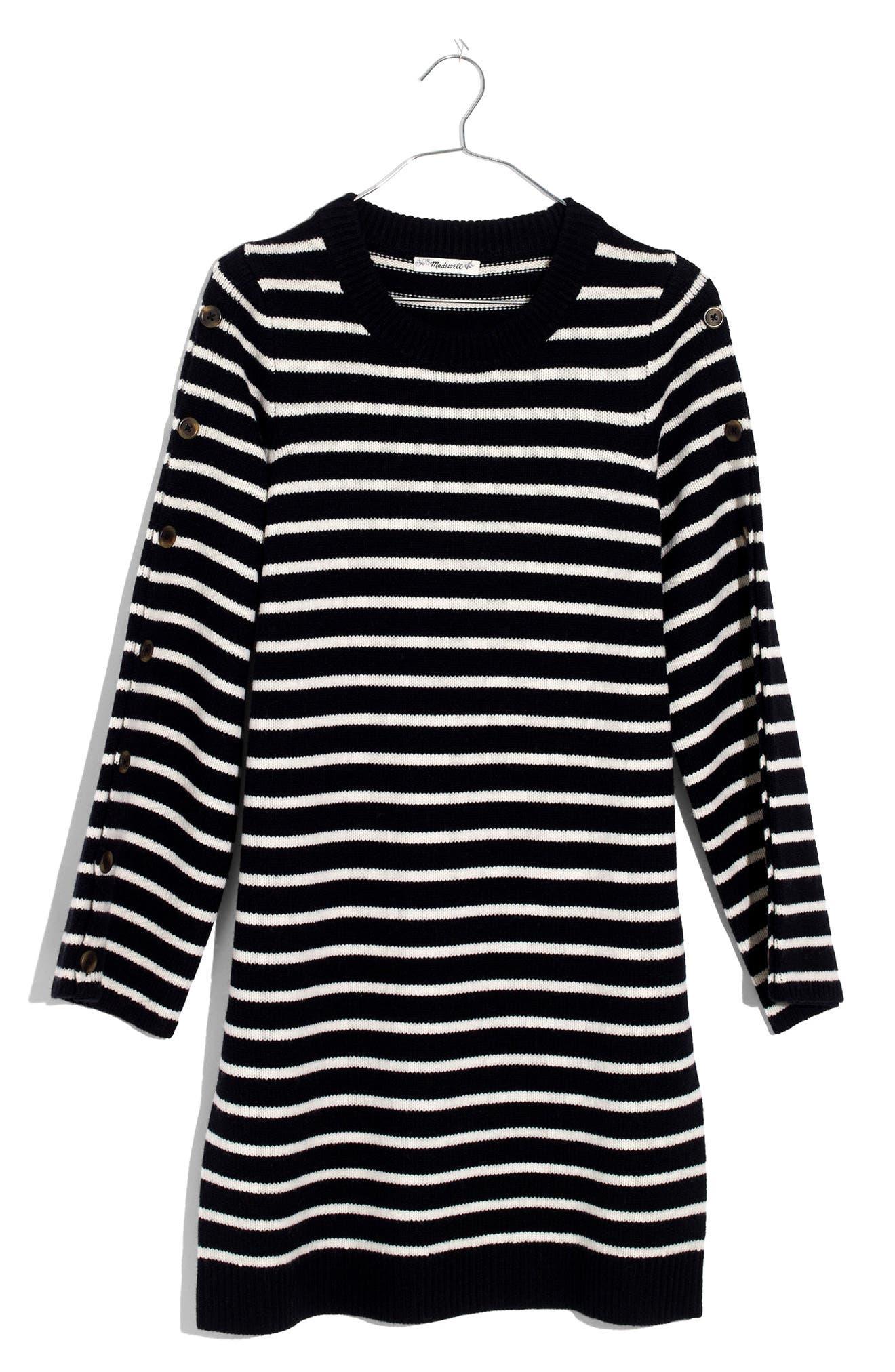Stripe Sweater Dress,                             Alternate thumbnail 4, color,                             010