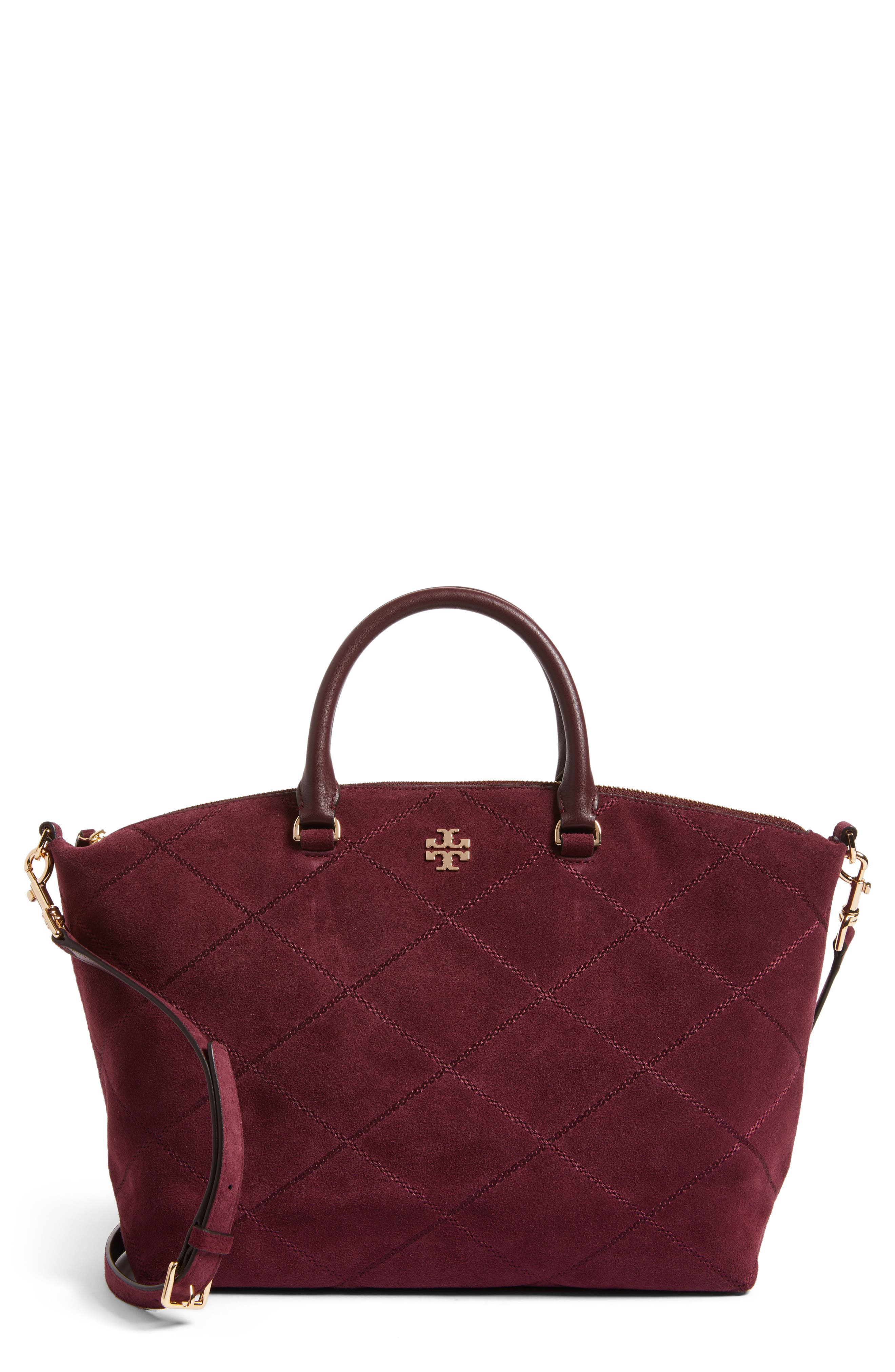 Frida Stitched Suede Satchel,                             Main thumbnail 1, color,                             930