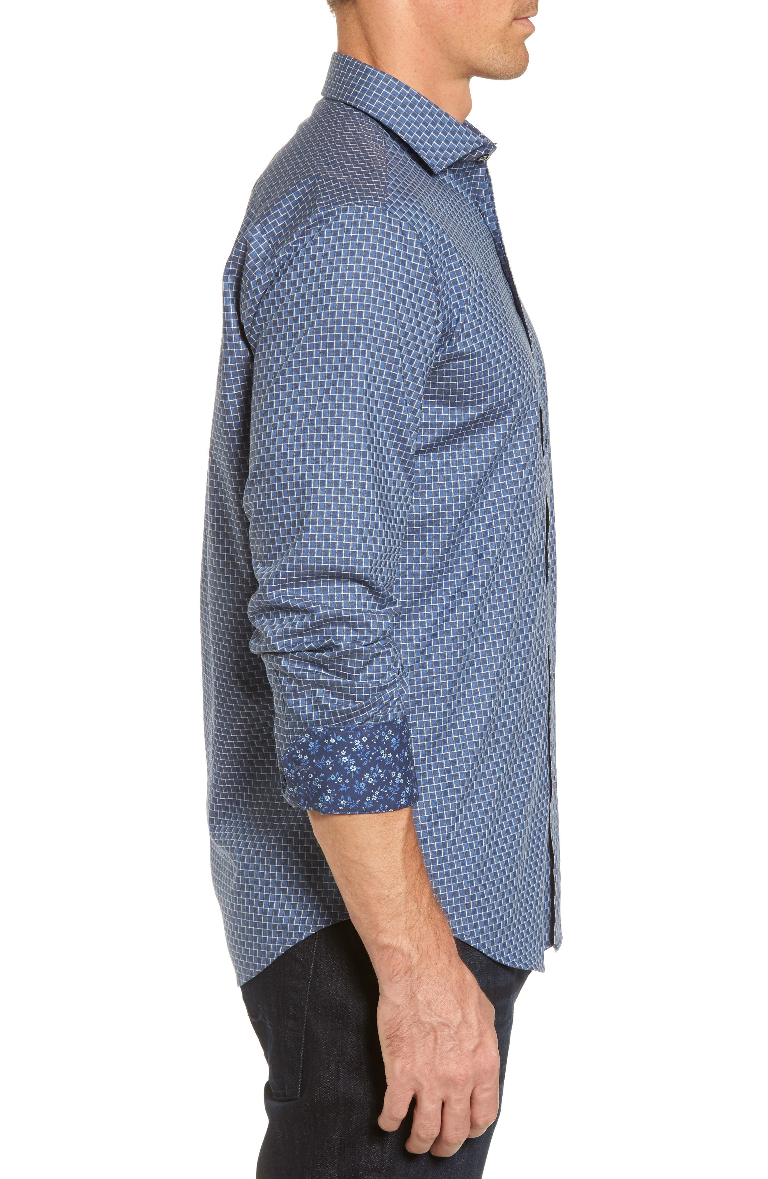 Shaped Fit Jacquard Sport Shirt,                             Alternate thumbnail 3, color,                             030