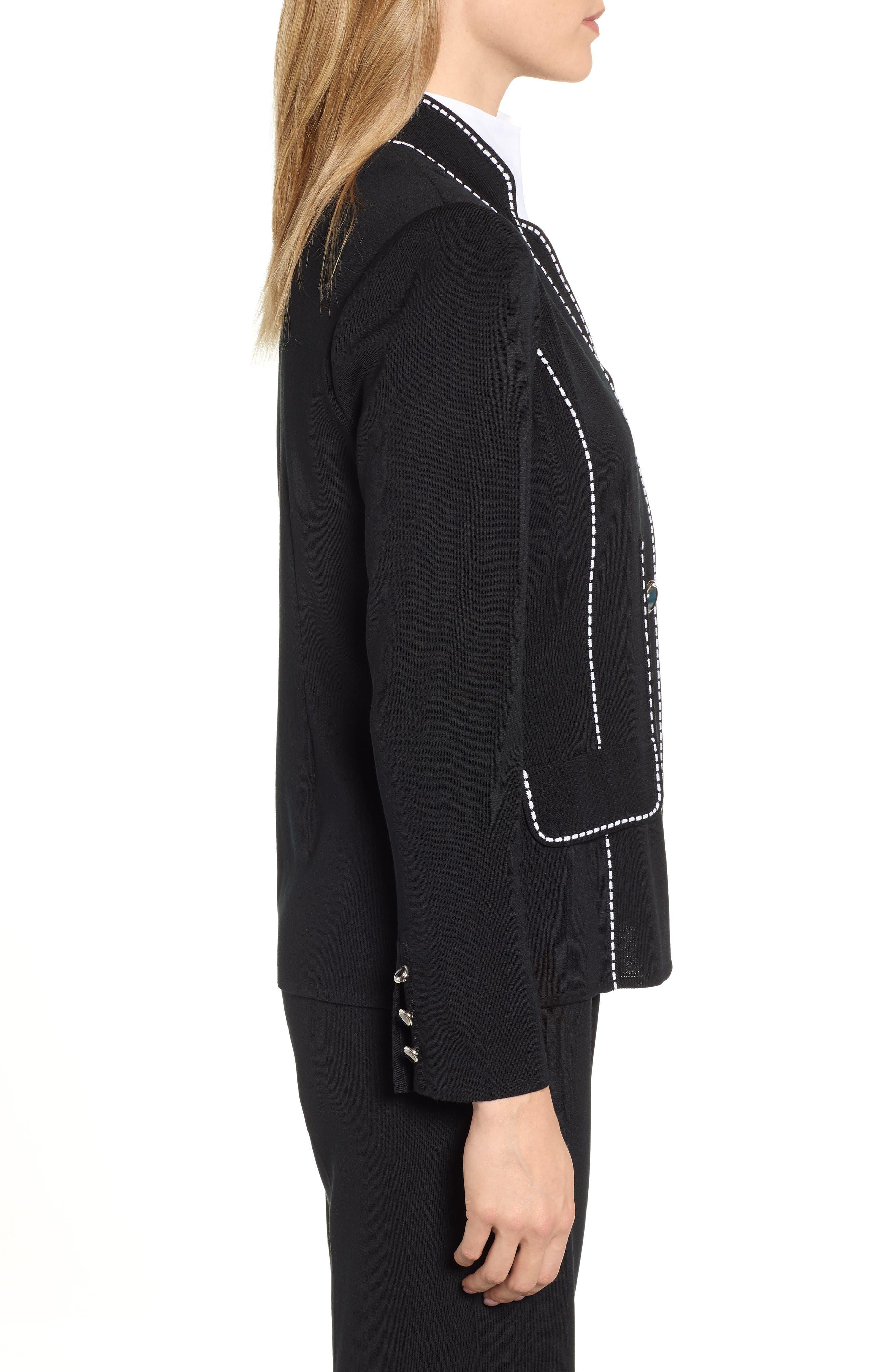 Contrast Jacquard Sweater Jacket,                             Alternate thumbnail 3, color,                             BLACK/ WHITE
