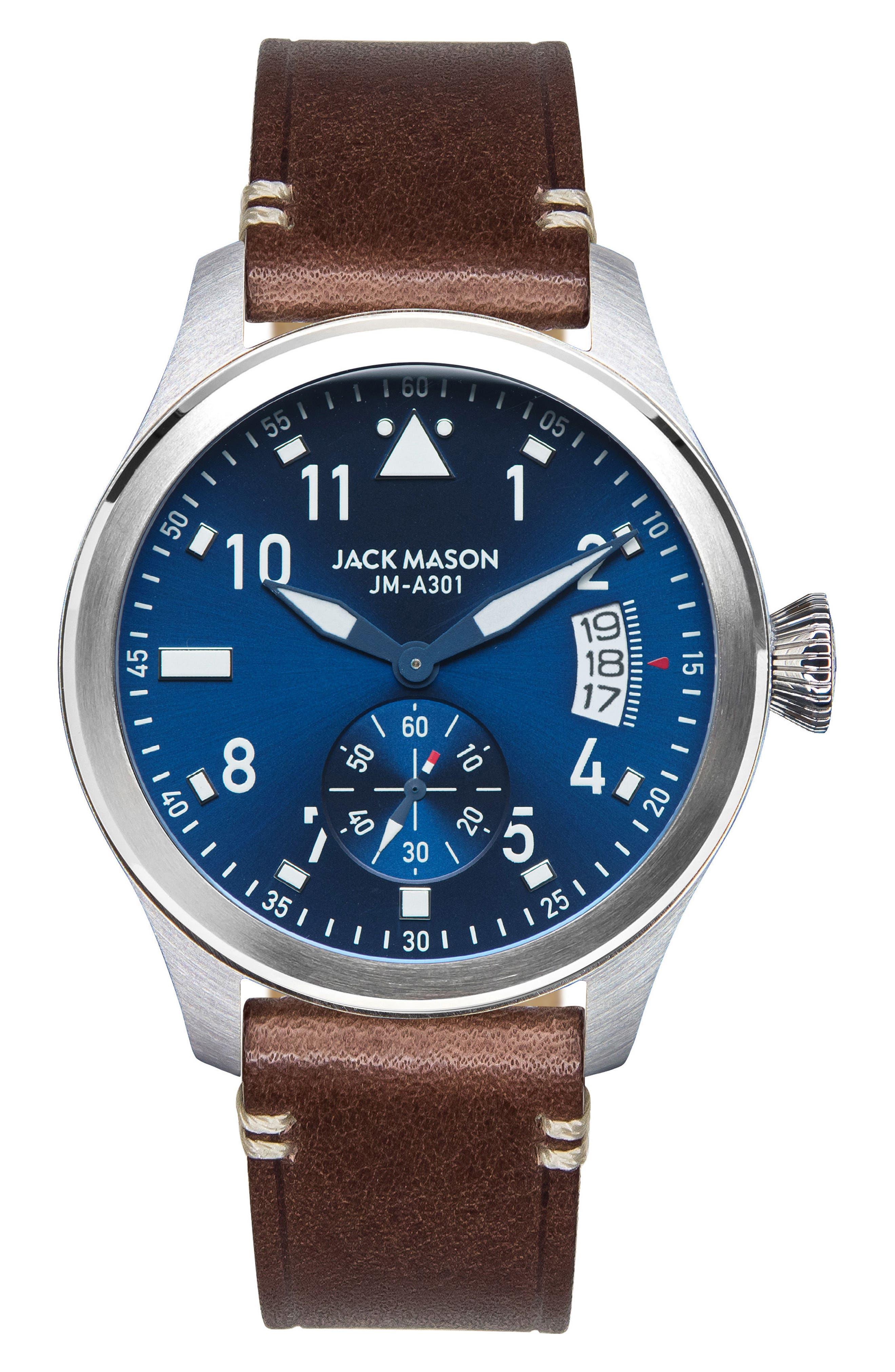 Aviation Leather Strap Watch, 45mm,                             Main thumbnail 2, color,